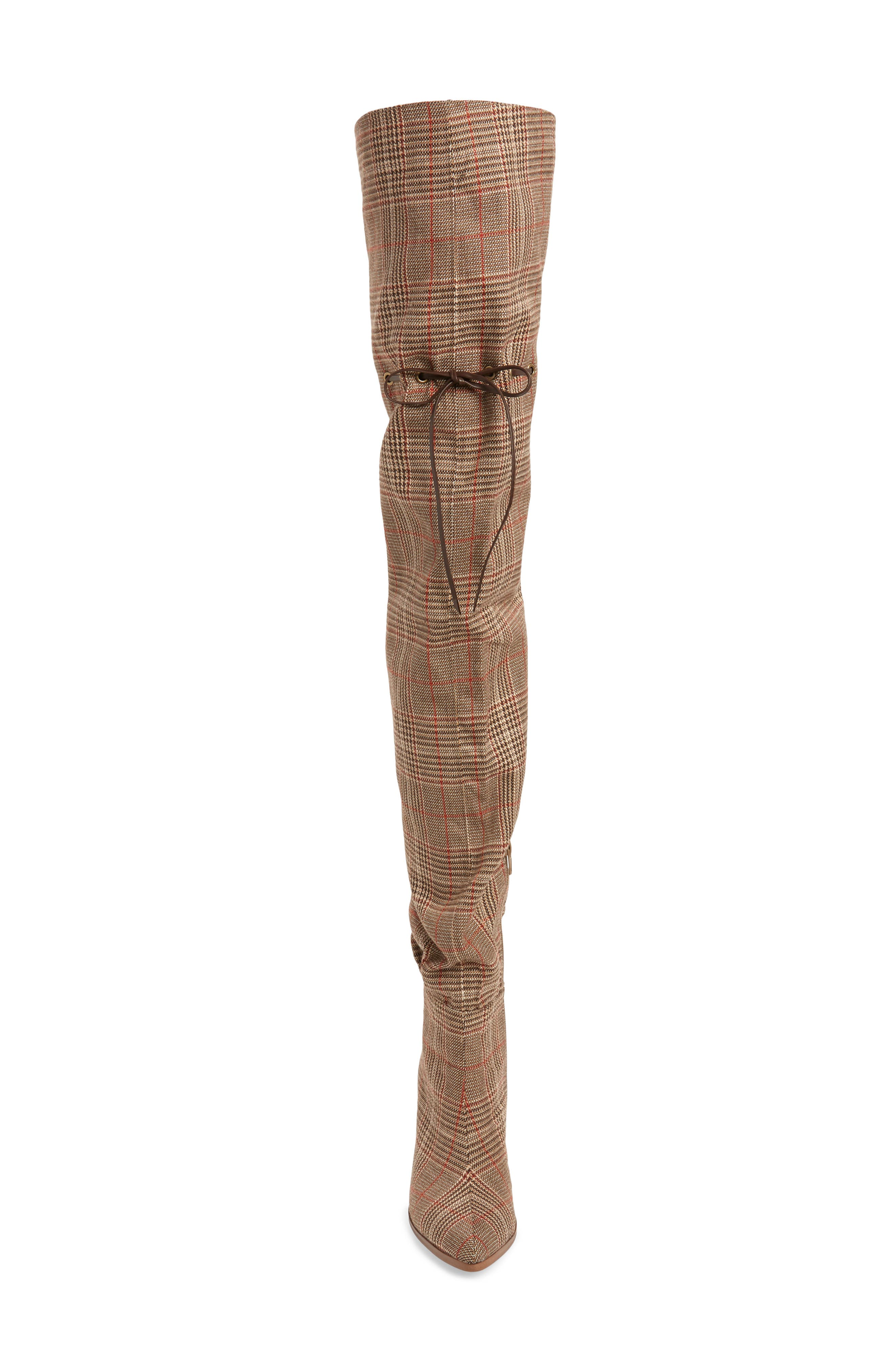 Go-Go-Girl Thigh High Boot,                             Alternate thumbnail 4, color,                             BEIGE PLAID