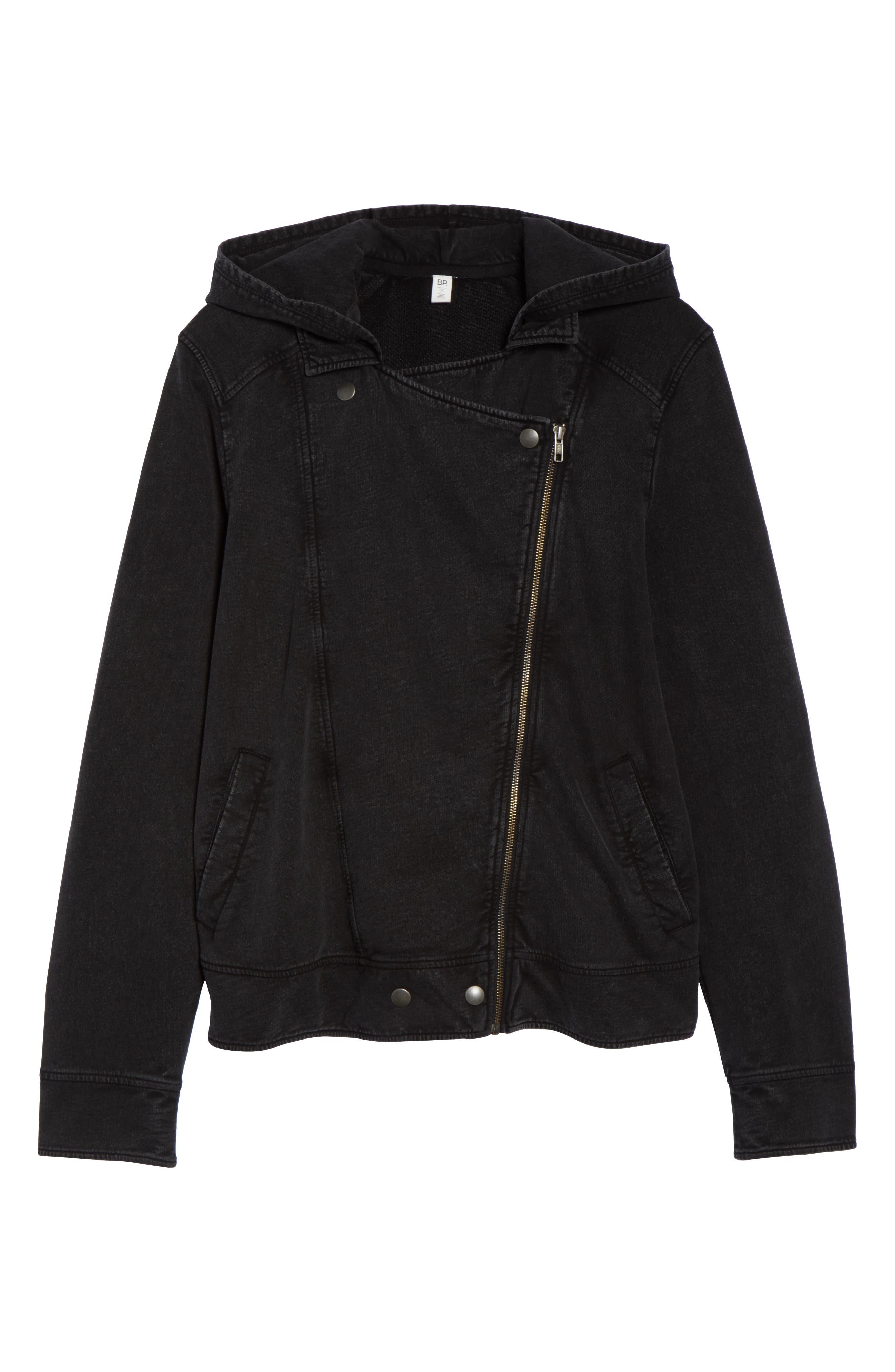 Hooded Knit Moto Jacket,                             Alternate thumbnail 12, color,                             BLACK