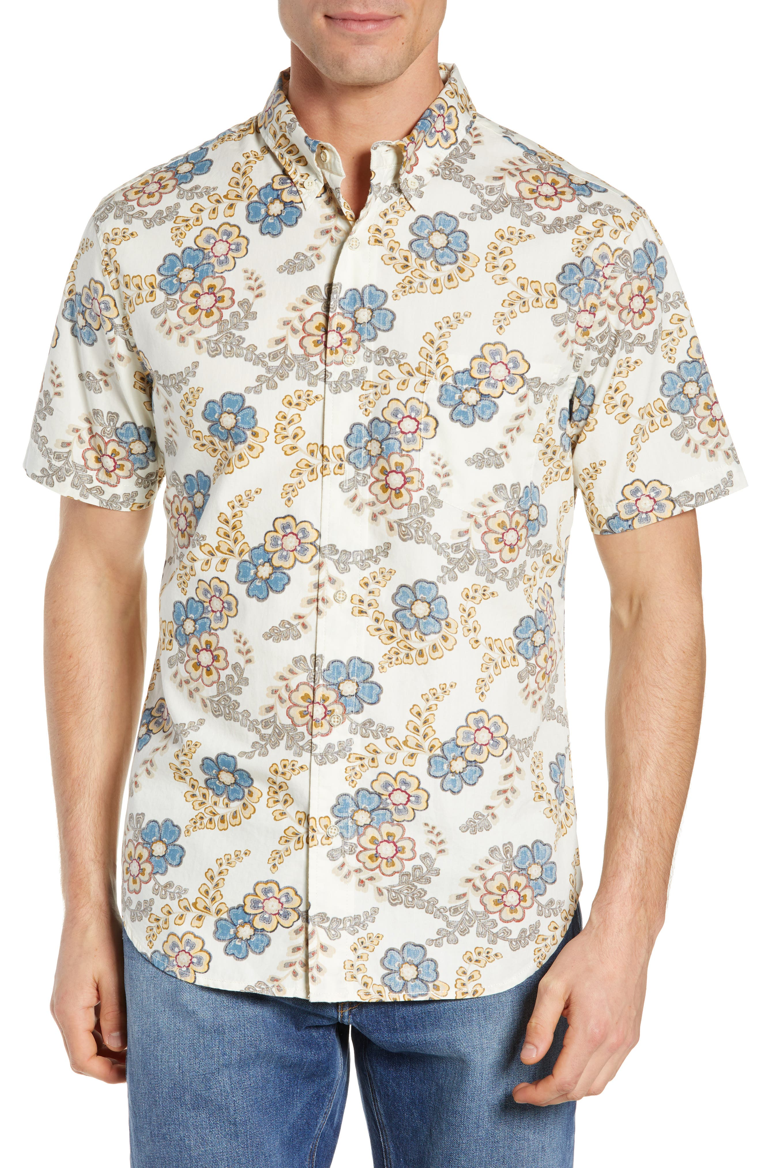 Regular Fit Furoshiki Floral Sport Shirt,                         Main,                         color, NATURAL