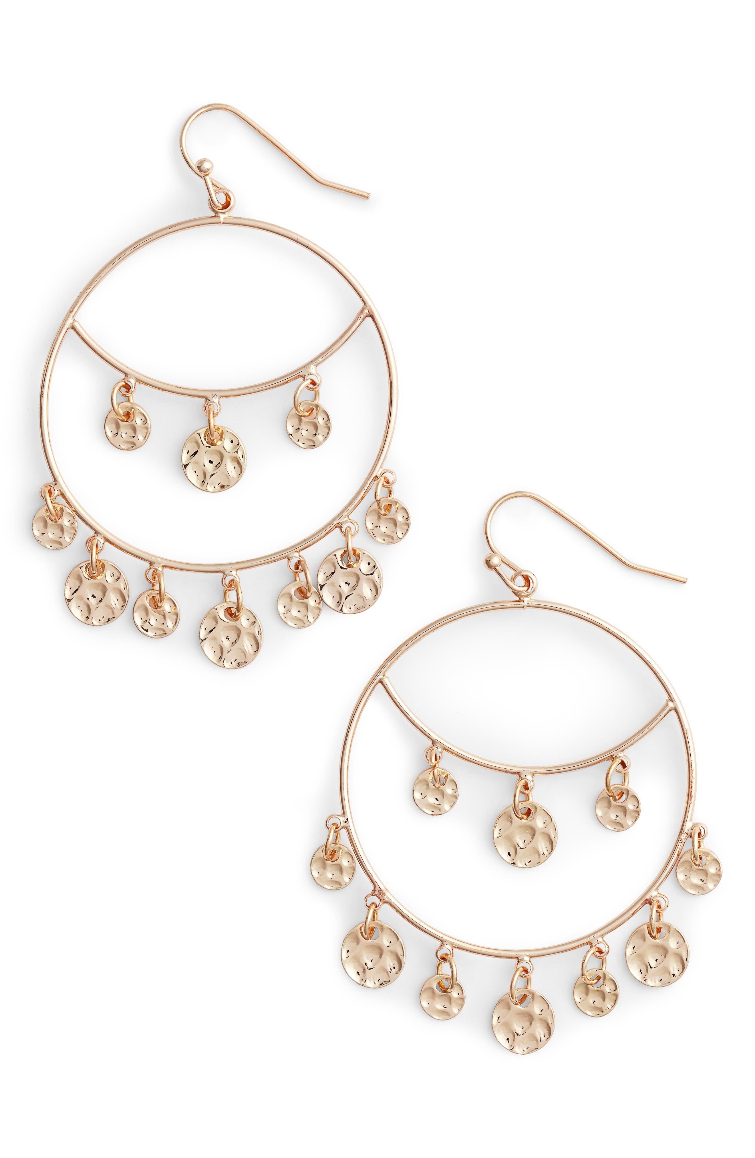 Charm Hoop Earrings,                         Main,                         color, 710