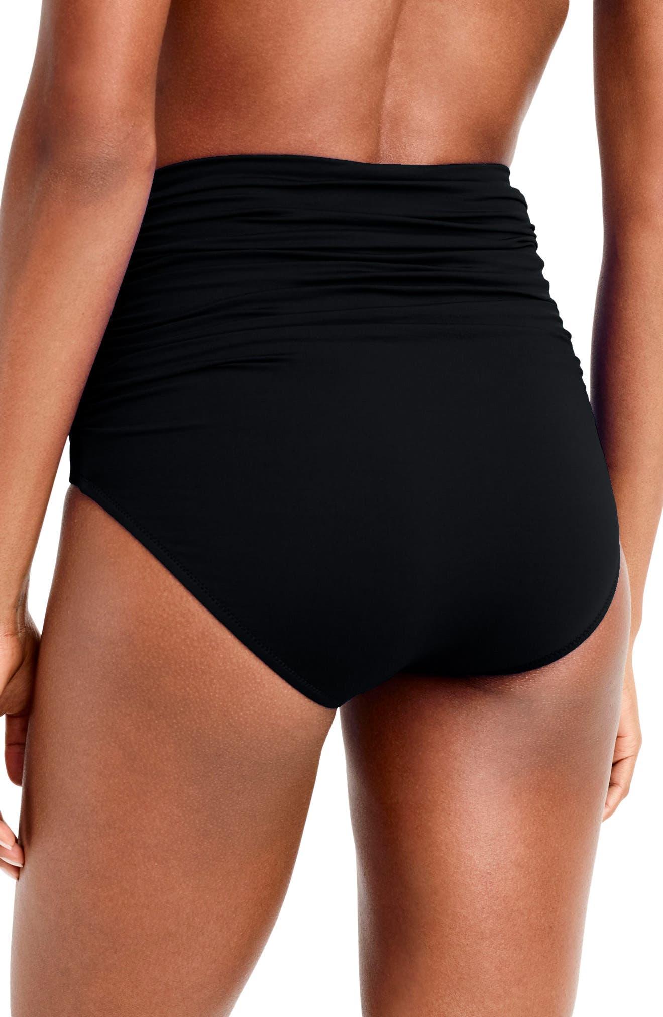 Ruched High Waist Bikini Bottoms,                             Alternate thumbnail 2, color,                             001