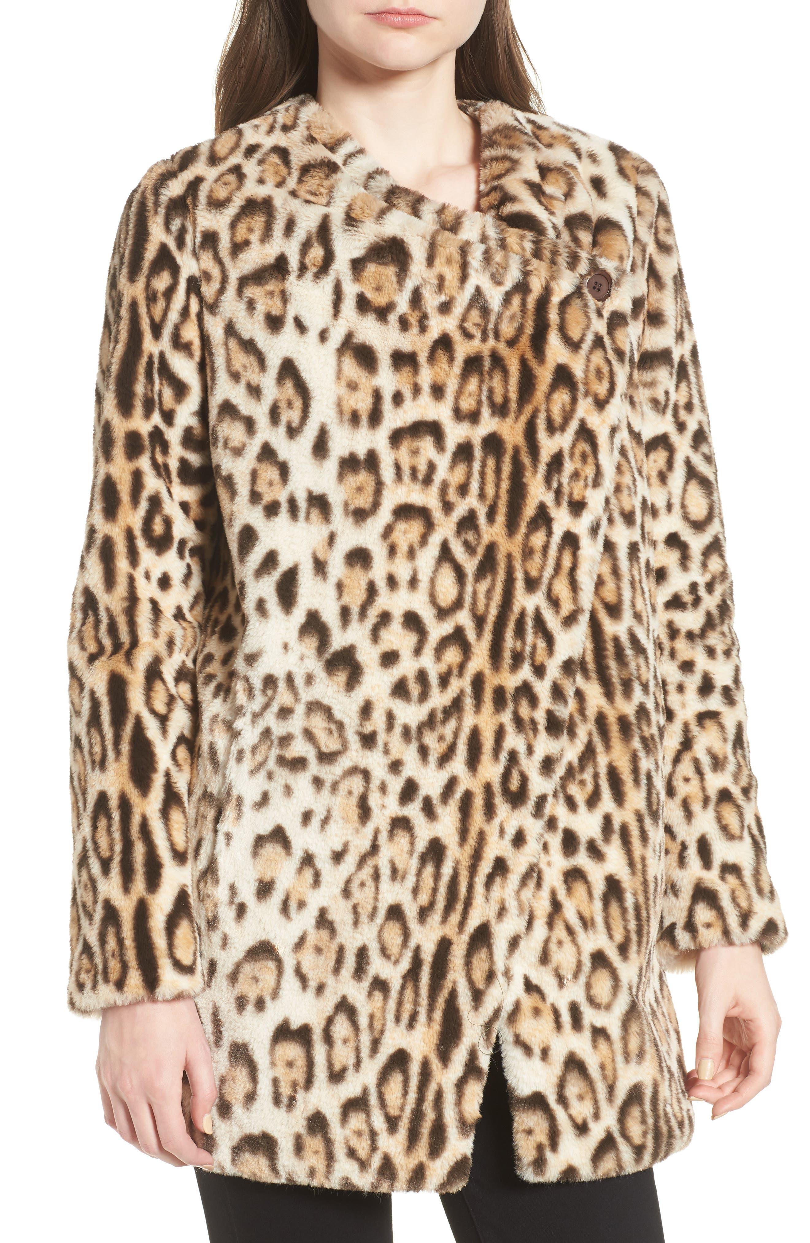 Leopard Faux Fur Jacket,                             Alternate thumbnail 4, color,                             210