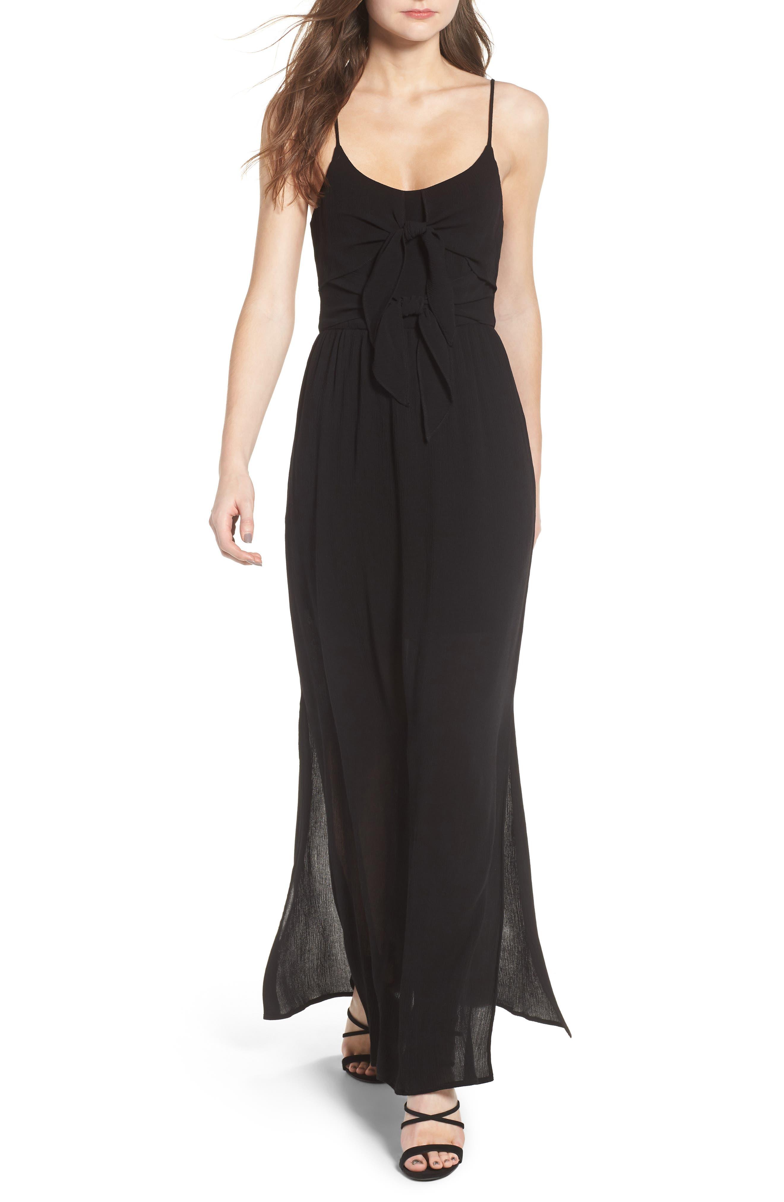 Tie Front Maxi Dress,                         Main,                         color, 001