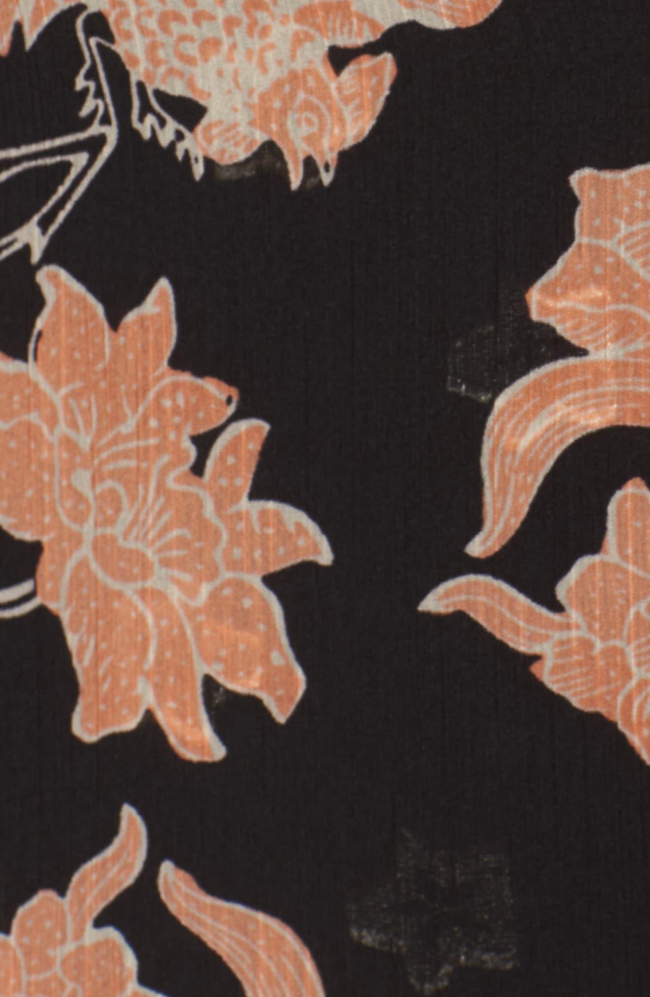 Floral Print Drape Duster Jacket,                             Alternate thumbnail 7, color,                             001