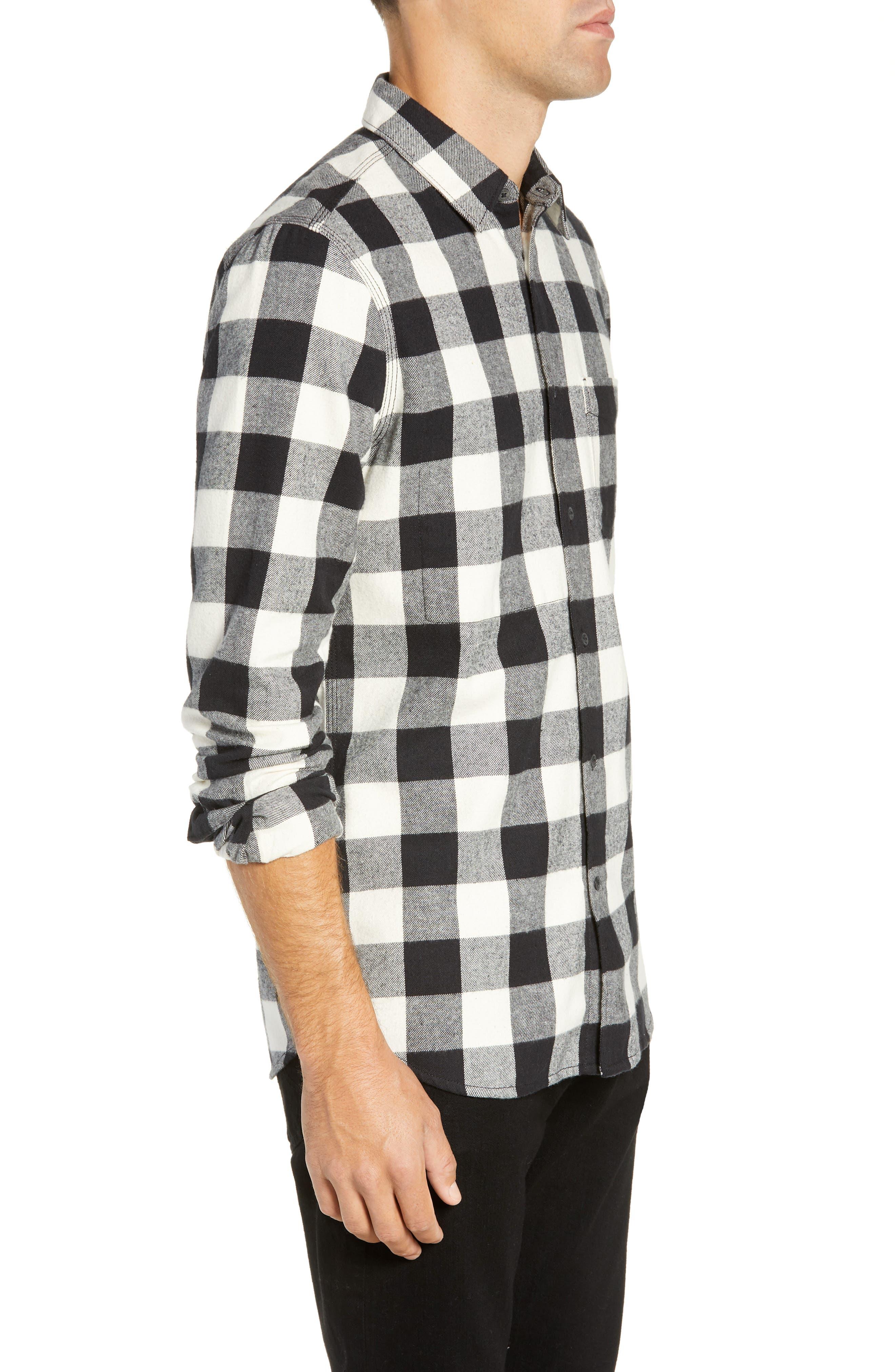 Kahama Regular Fit Flannel Sport Shirt,                             Alternate thumbnail 4, color,                             BLACK WHITECAP GREY