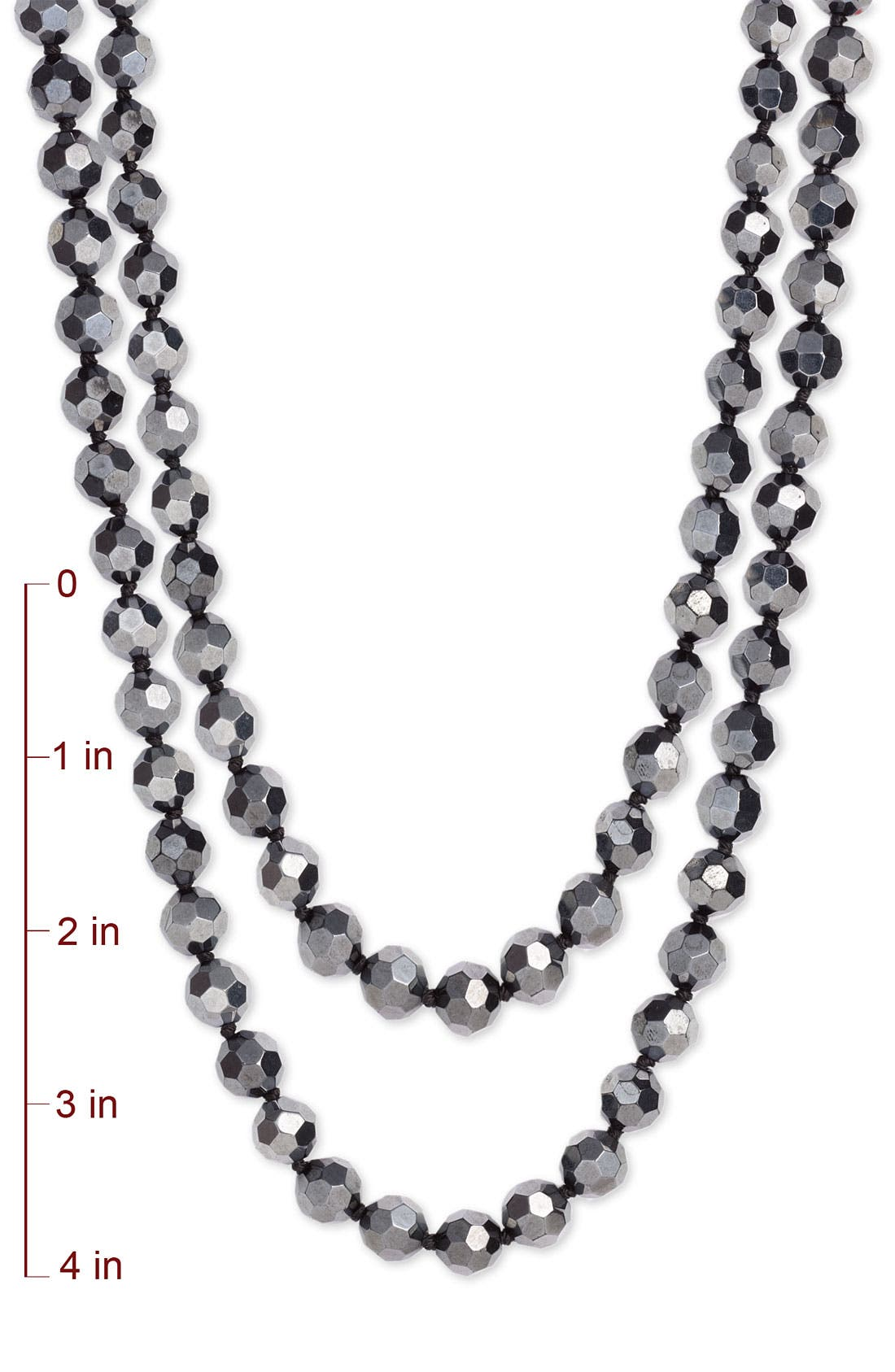 Metallic Bead Extra Long Necklace,                             Alternate thumbnail 3, color,                             001