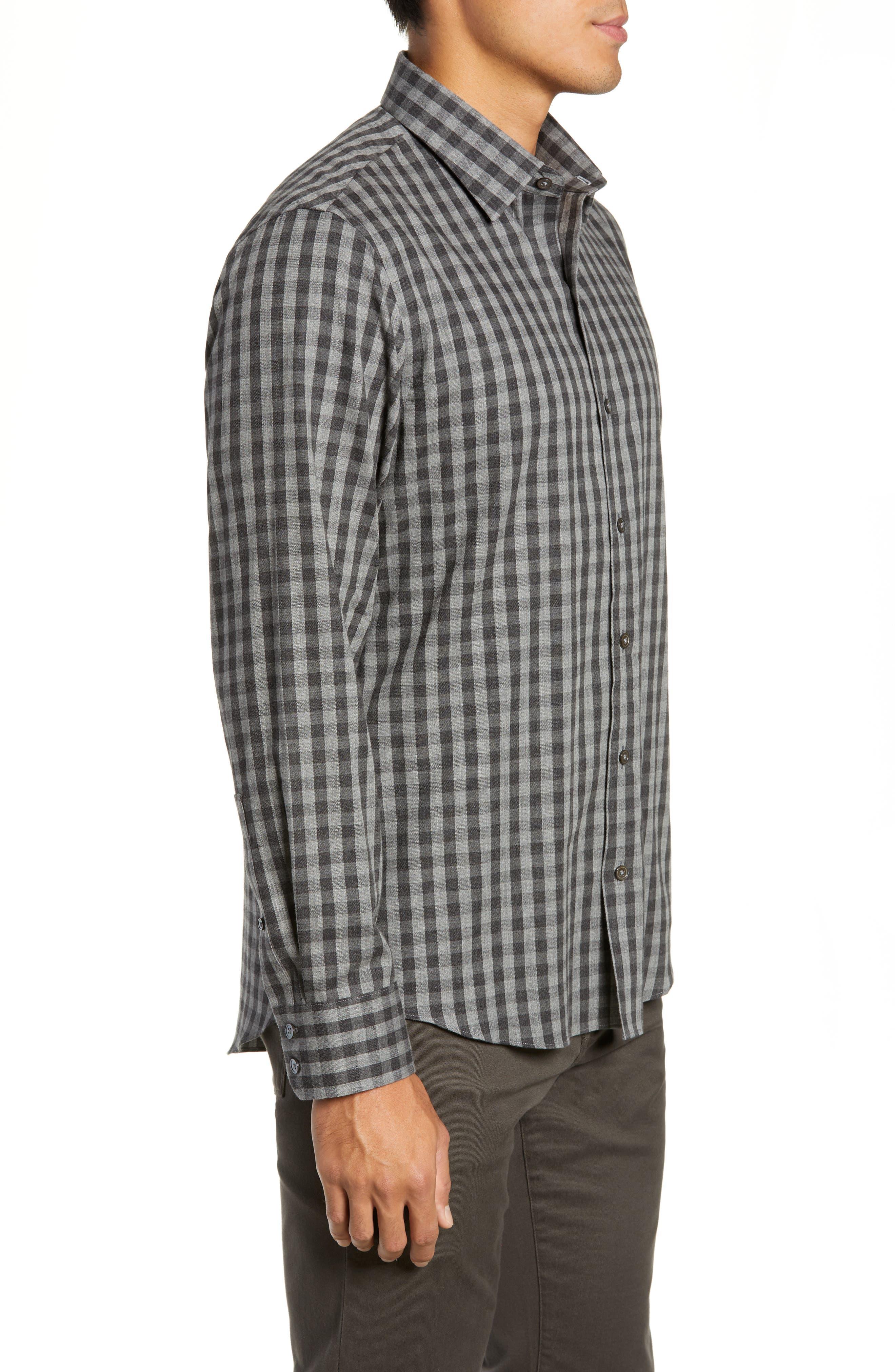Lieberman Regular Fit Check Sport Shirt,                             Alternate thumbnail 4, color,                             CHARCOAL