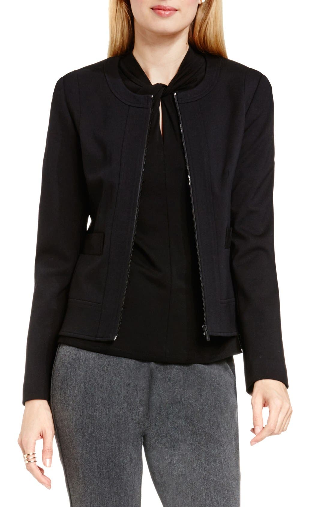 Front Zip Collarless Jacket,                         Main,                         color, RICH BLACK
