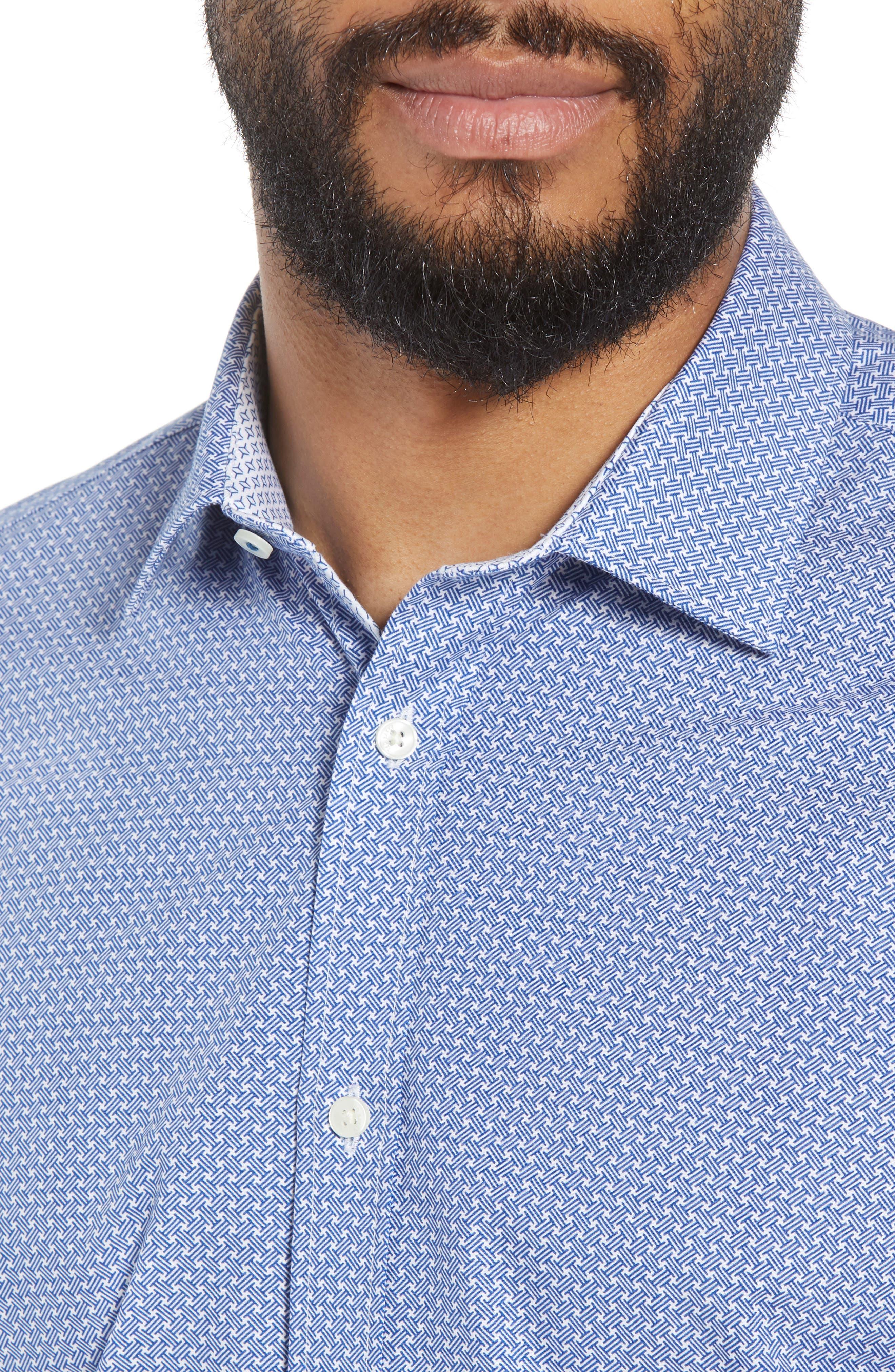 Rugber Slim Fit Print Dress Shirt,                             Alternate thumbnail 2, color,                             BLUE