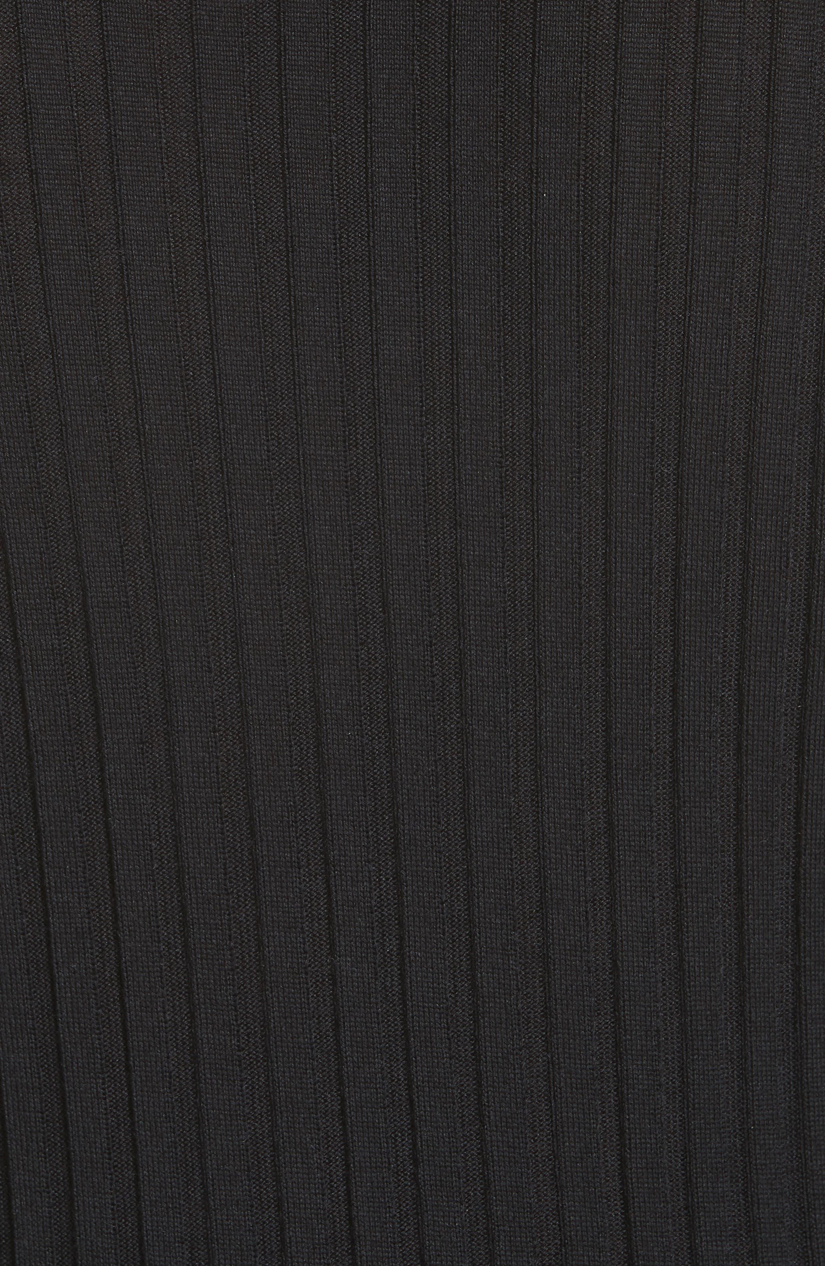 Snap Neck Rib Knit Sweater Dress,                             Alternate thumbnail 5, color,                             001