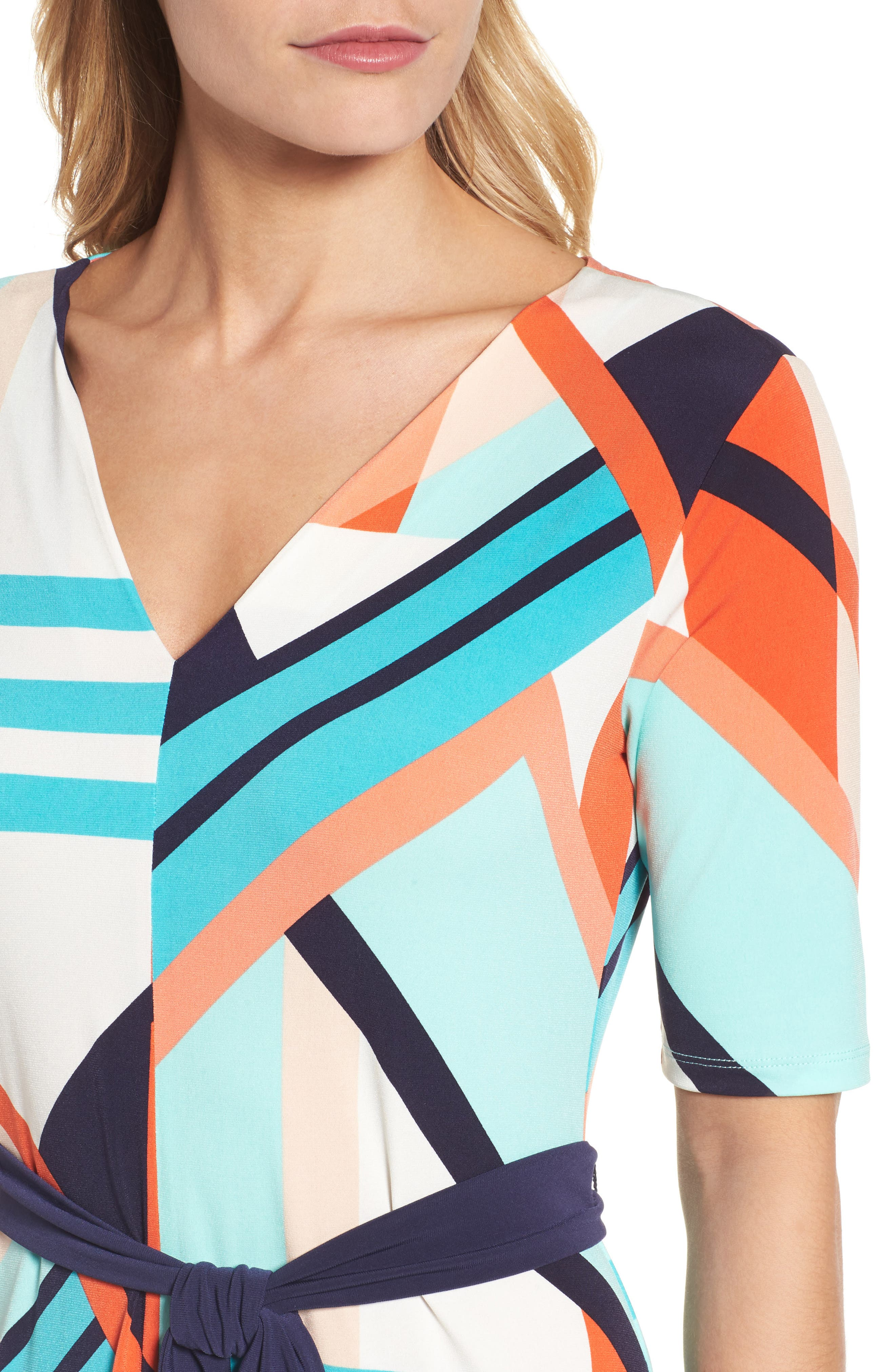 Belted Geo Print Midi Dress,                             Alternate thumbnail 4, color,