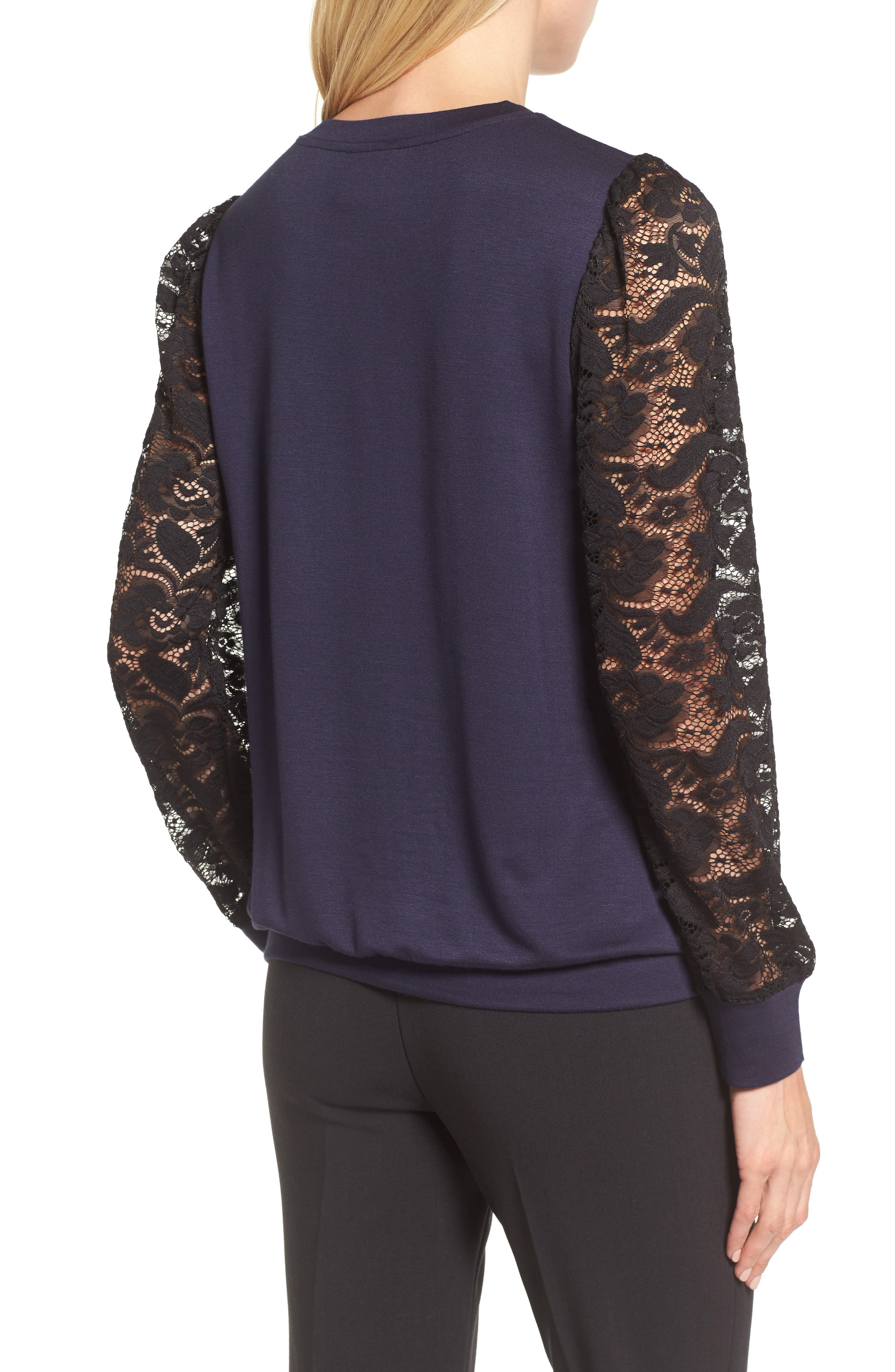 Lace Sleeve Sweatshirt,                             Alternate thumbnail 7, color,