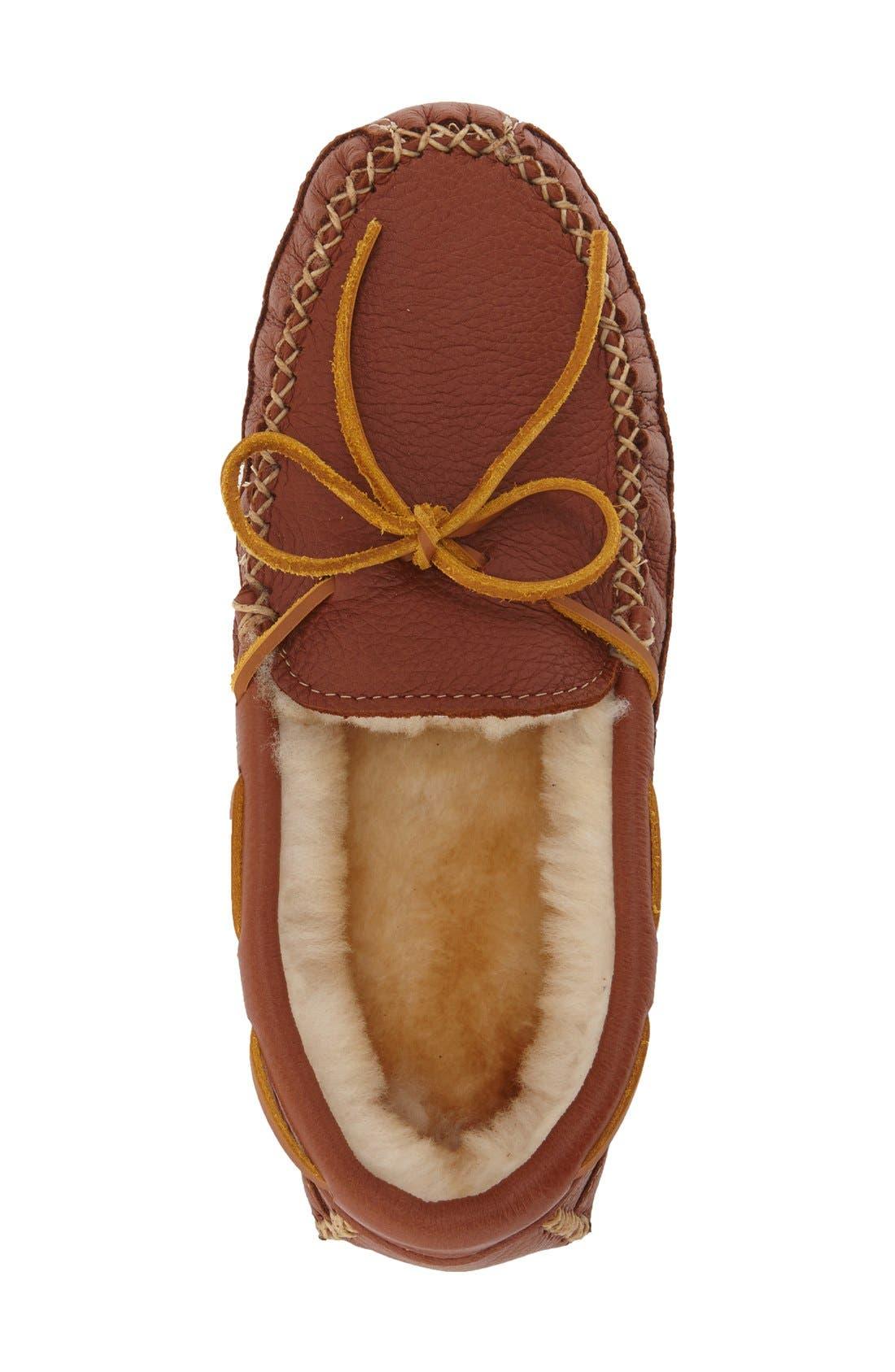 Genuine Shearling Lined Leather Slipper,                             Alternate thumbnail 3, color,                             CARMEL