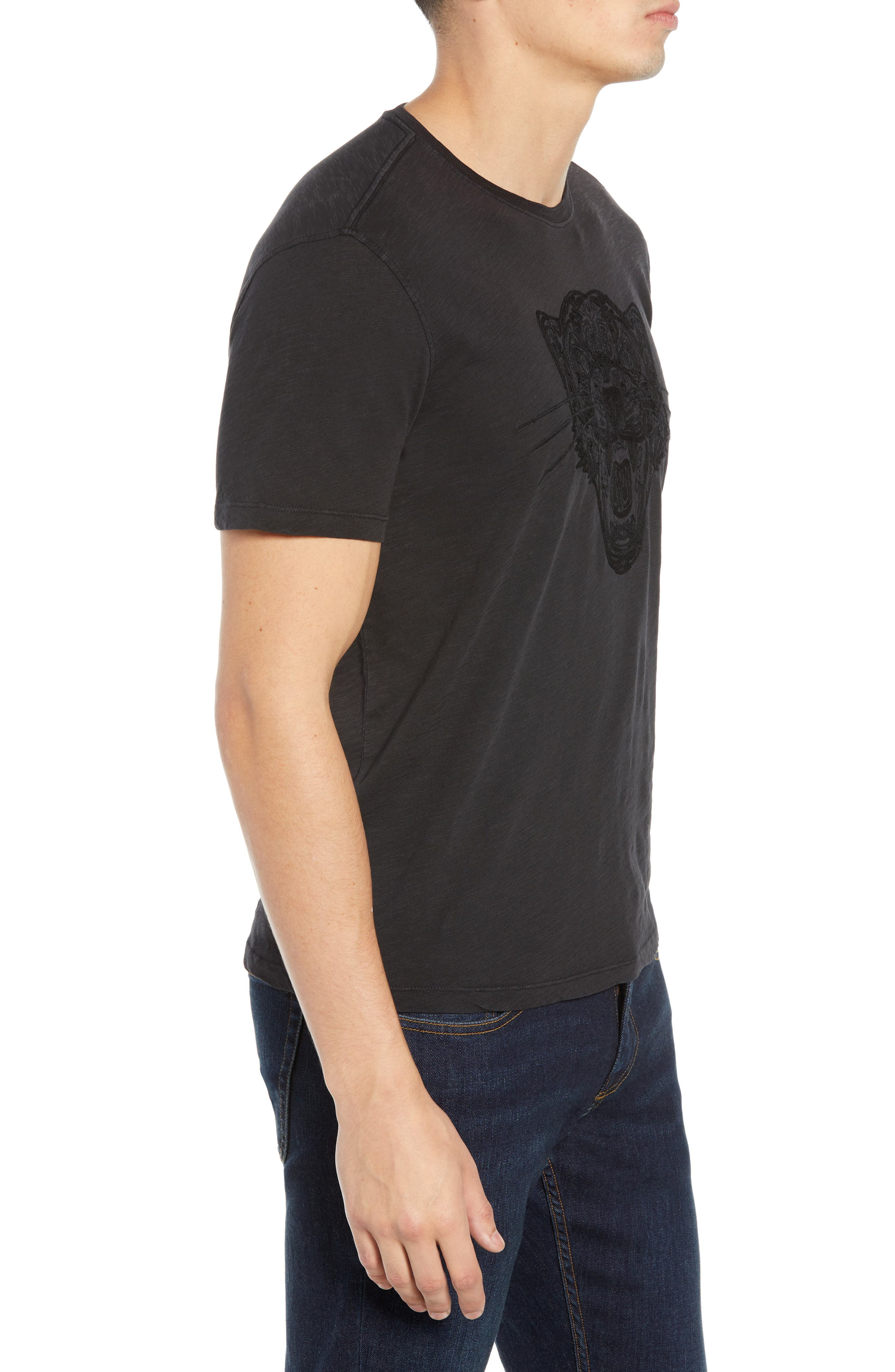 Embroidered Panther T-Shirt,                             Alternate thumbnail 3, color,                             BLACK