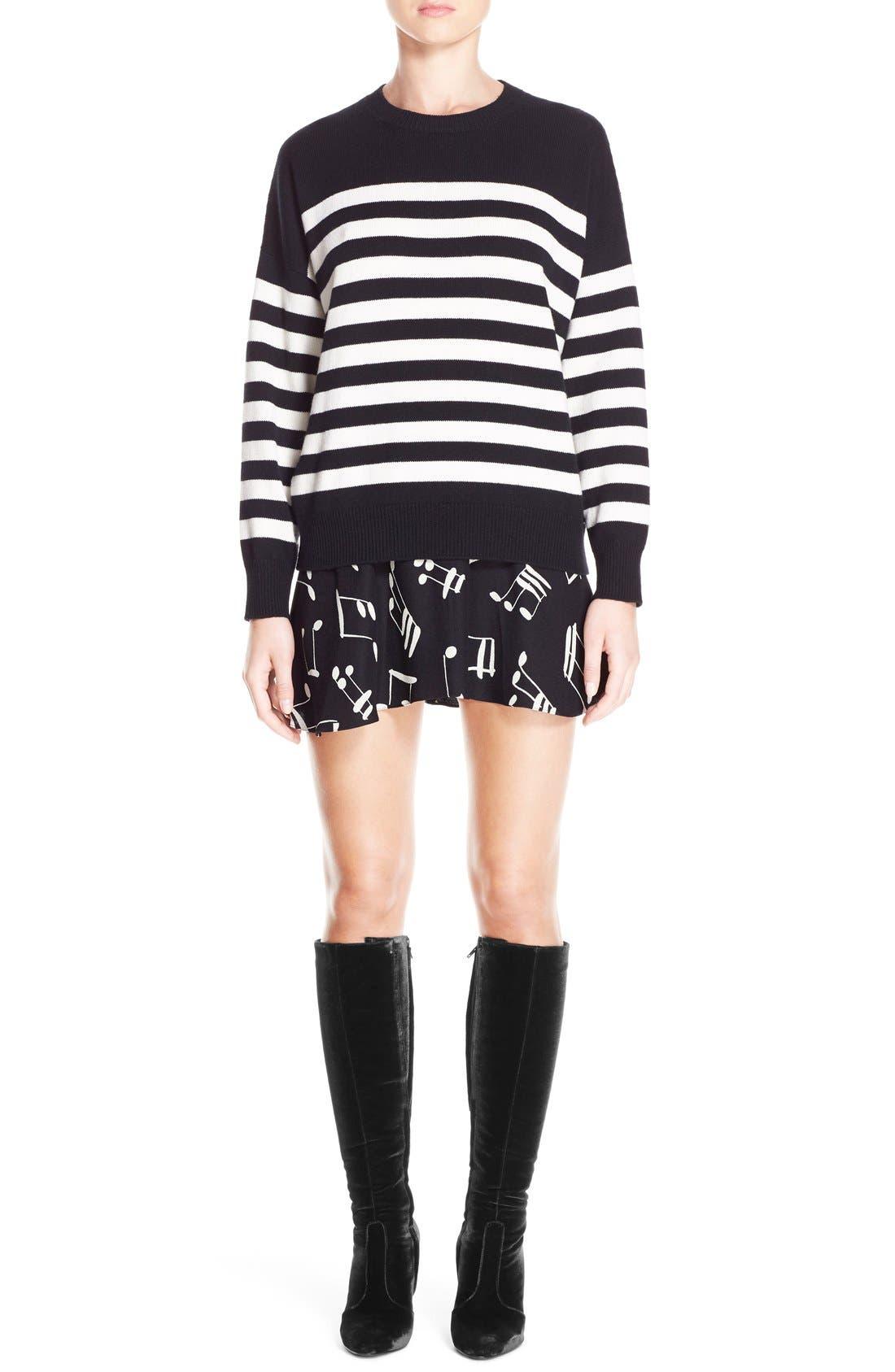 Stripe Cashmere Sweater,                             Main thumbnail 1, color,                             BLACK CREME