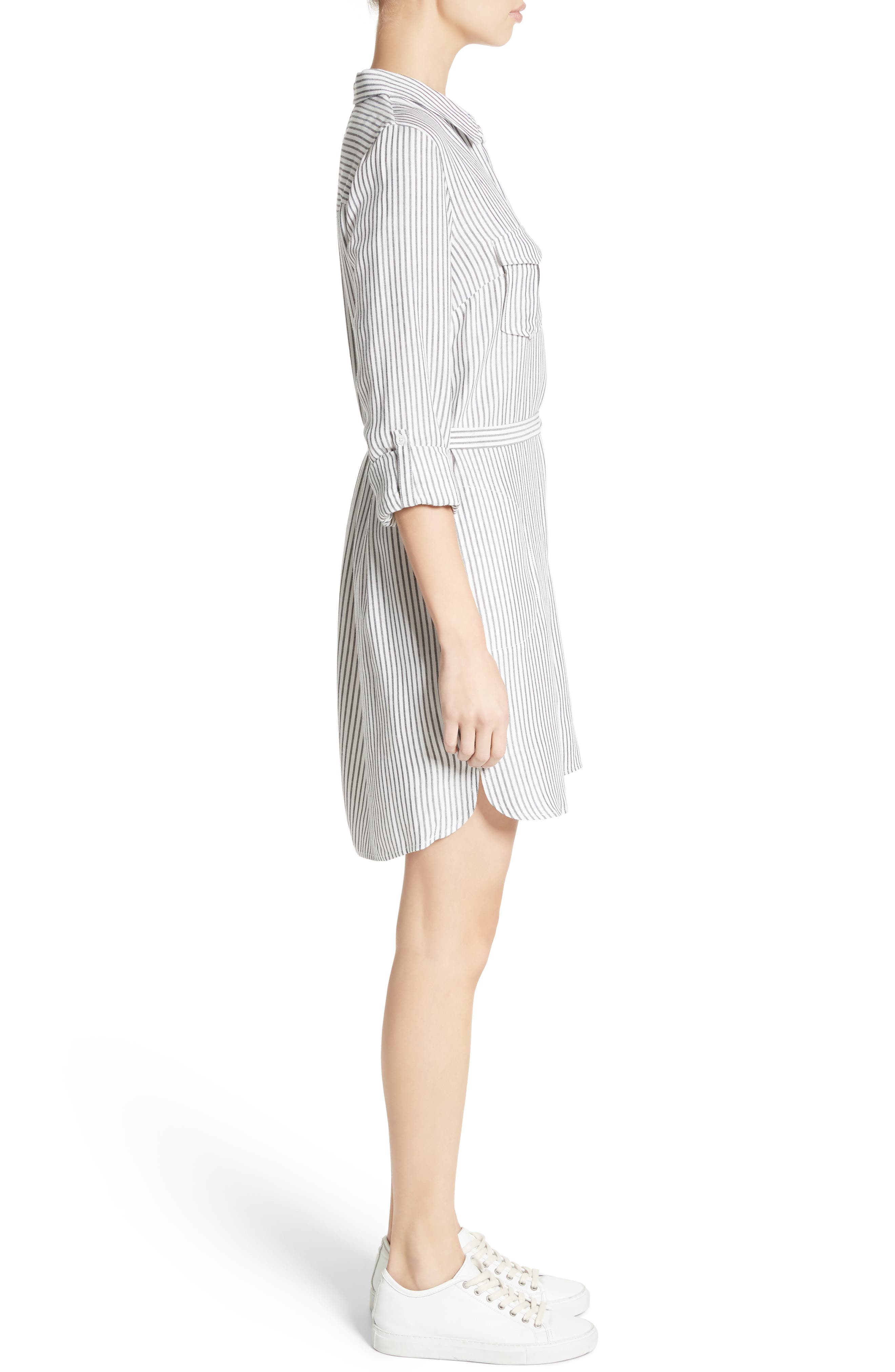 Wila B Belted Stripe Shirtdress,                             Alternate thumbnail 3, color,                             123