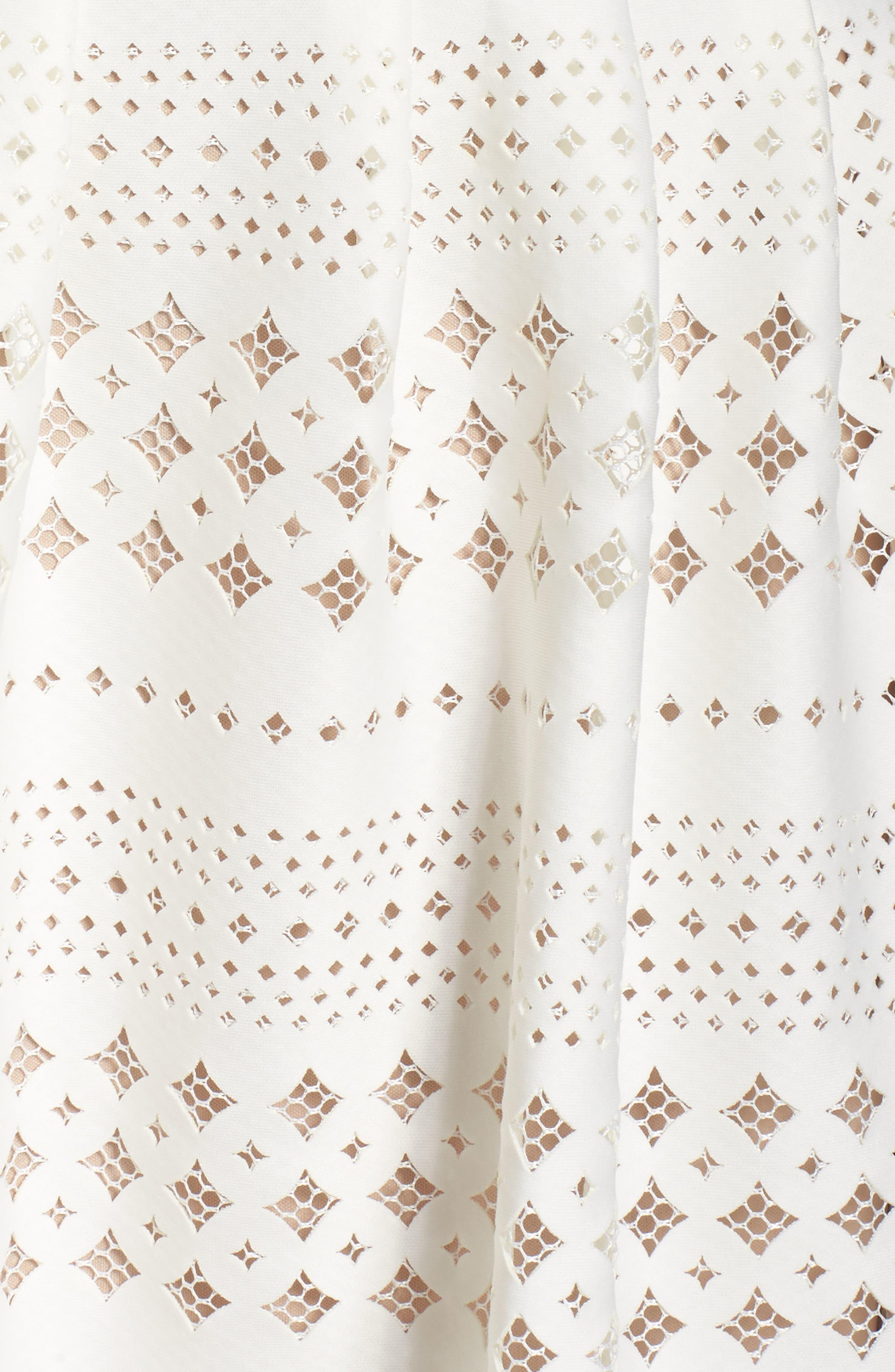 Laser Cut Fit & Flare Dress,                             Alternate thumbnail 6, color,                             901