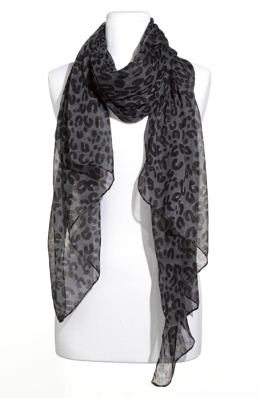Leopard Print Scarf,                         Main,                         color, 001