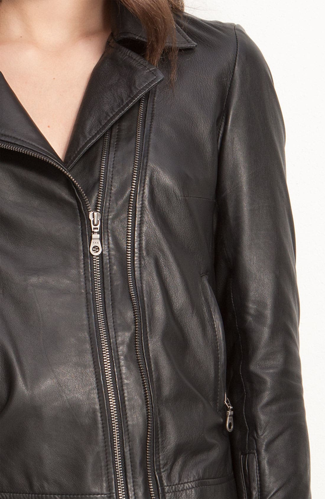 Kenna-T Classic Leather Moto Jacket,                             Alternate thumbnail 3, color,                             001