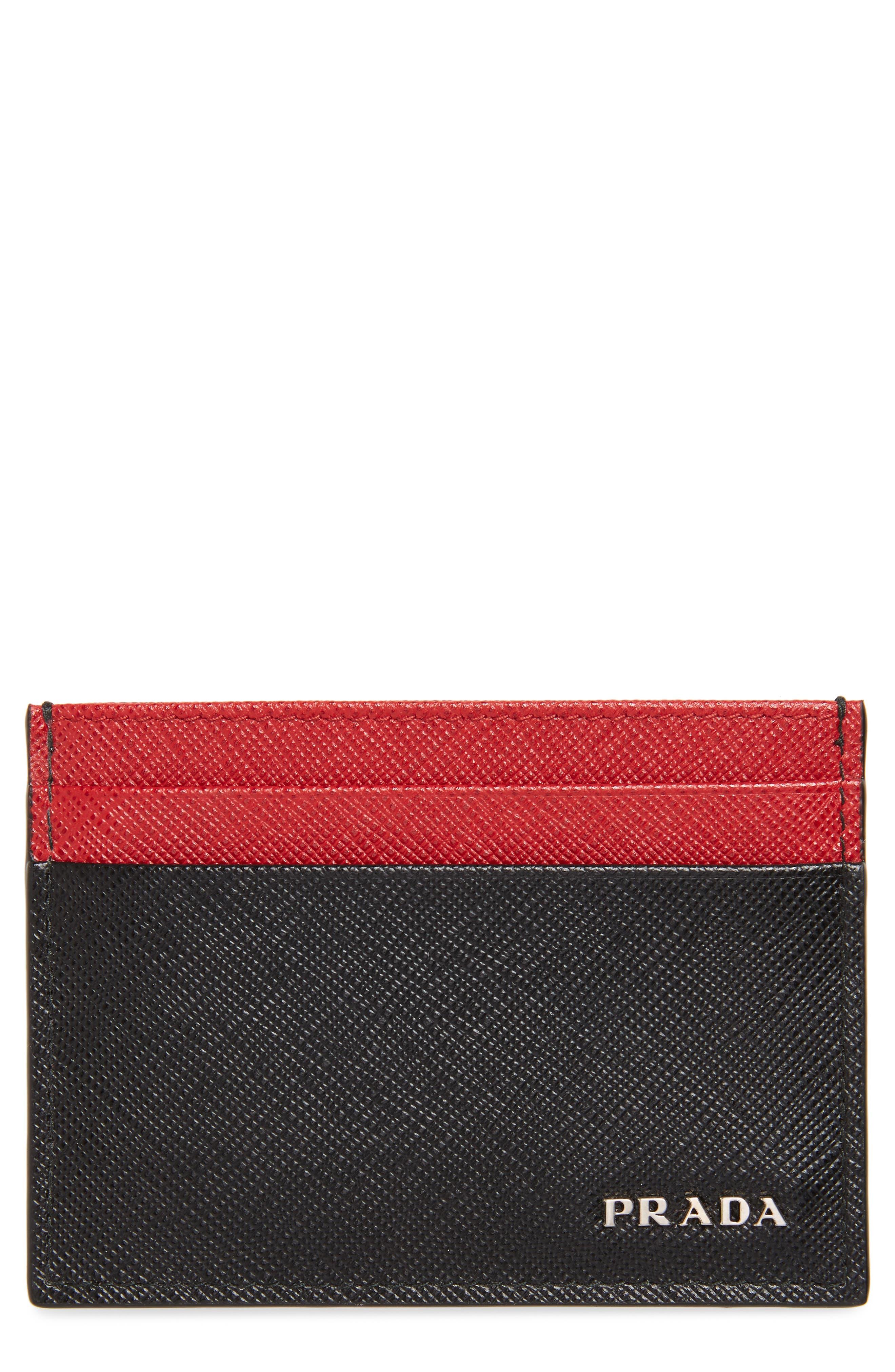 Bicolor Saffiano Leather Card Case,                             Main thumbnail 1, color,                             BLACK/ RED