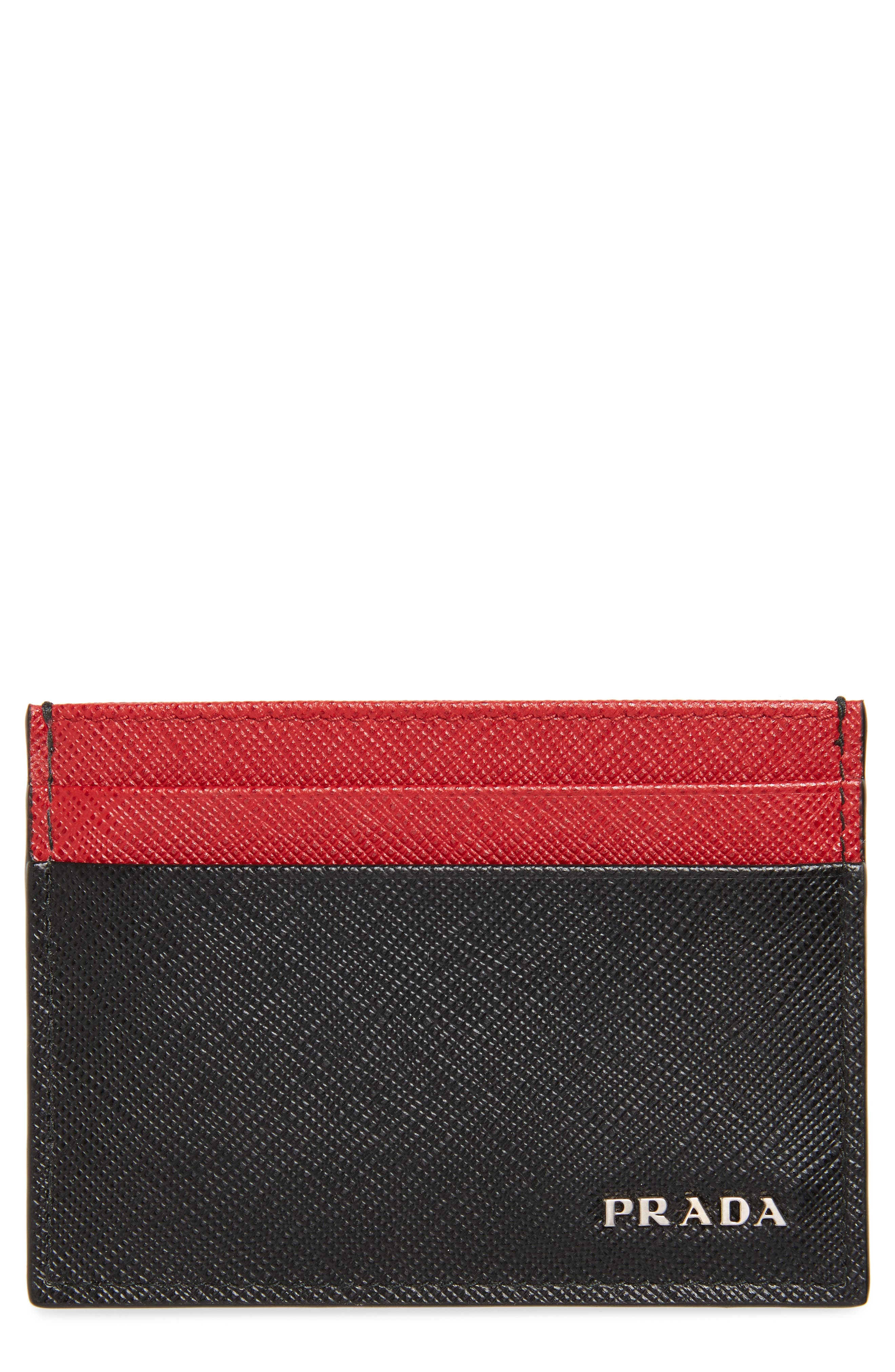 Bicolor Saffiano Leather Card Case,                         Main,                         color, BLACK/ RED