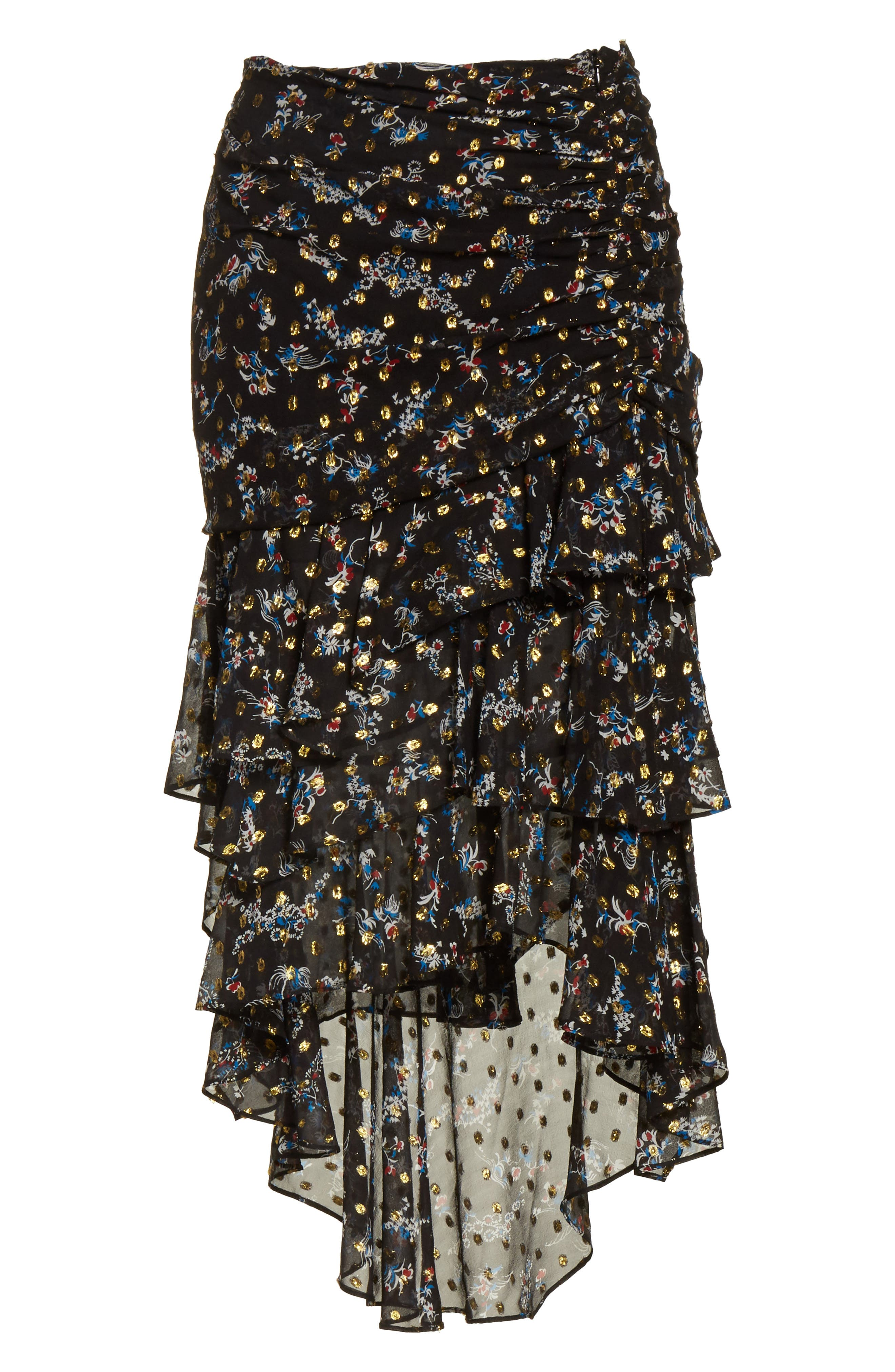 Cella Metallic Floral Print Midi Skirt,                             Alternate thumbnail 6, color,                             008