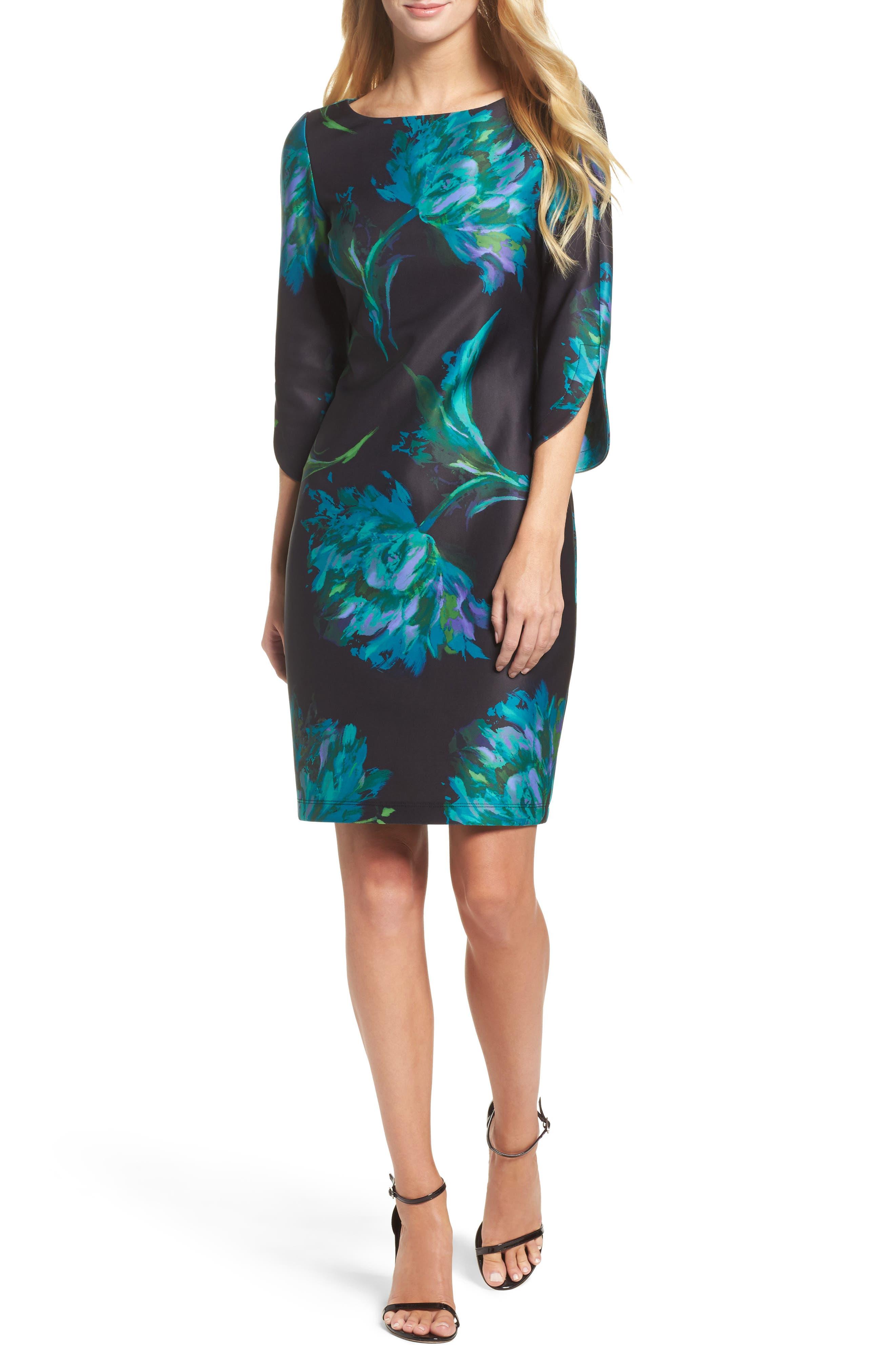Floral Print Shift Dress,                         Main,                         color, 440