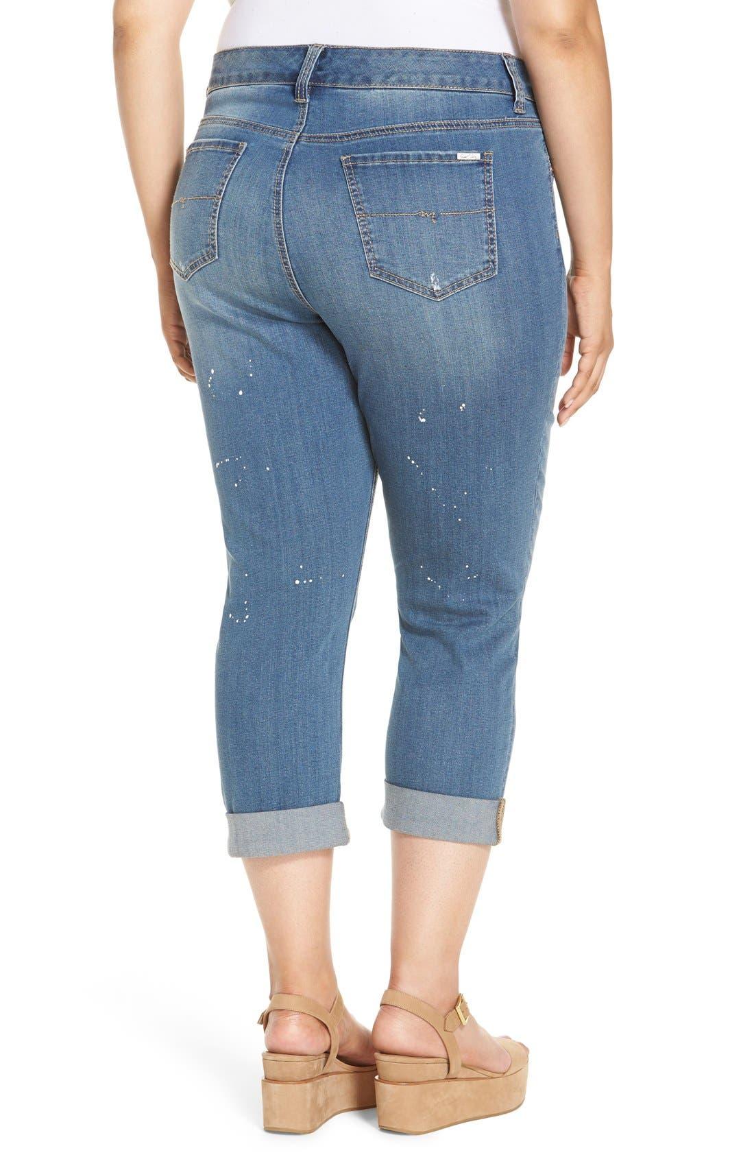 Stretch Crop Girlfriend Jeans,                             Alternate thumbnail 13, color,