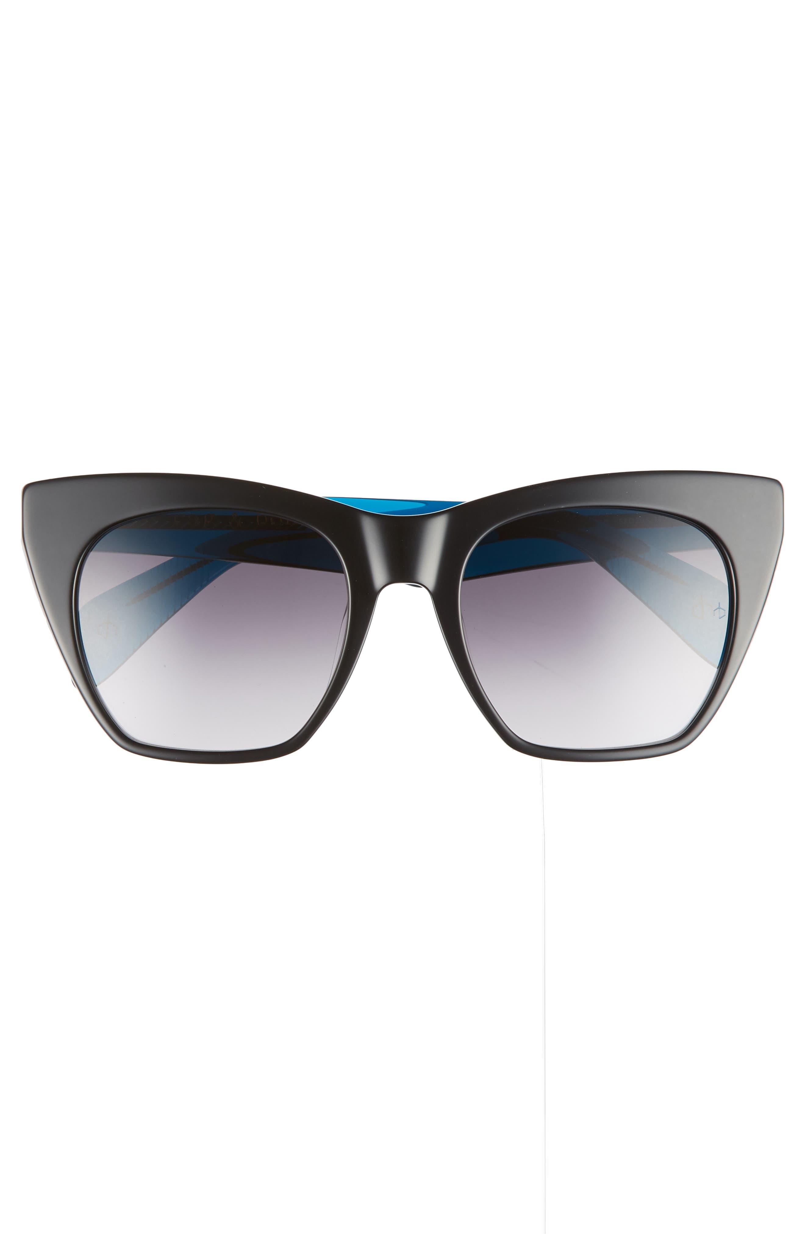 52mm Cat Eye Sunglasses,                             Alternate thumbnail 3, color,                             BLACK/ BLUE