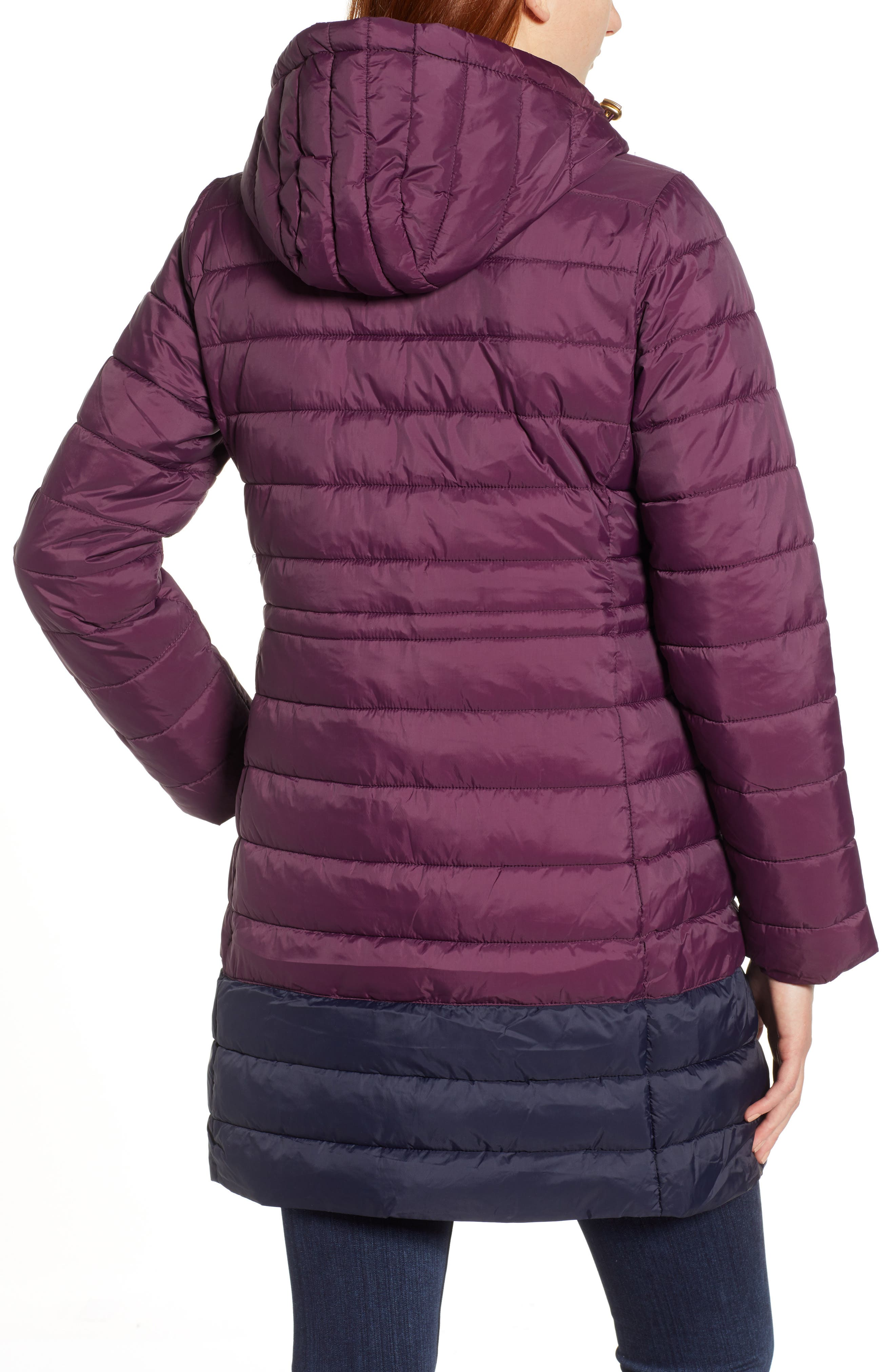 JOULES,                             Heathcote Two-Tone Puffer Jacket,                             Alternate thumbnail 2, color,                             BURGUNDY