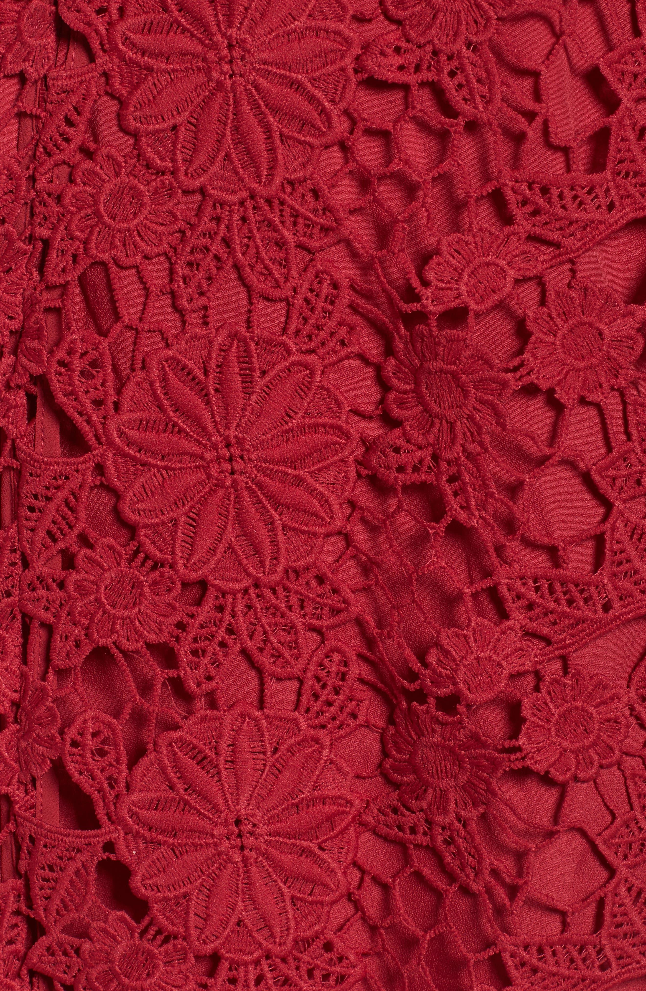 Frameless Ruffle Crochet Gown,                             Alternate thumbnail 5, color,                             621