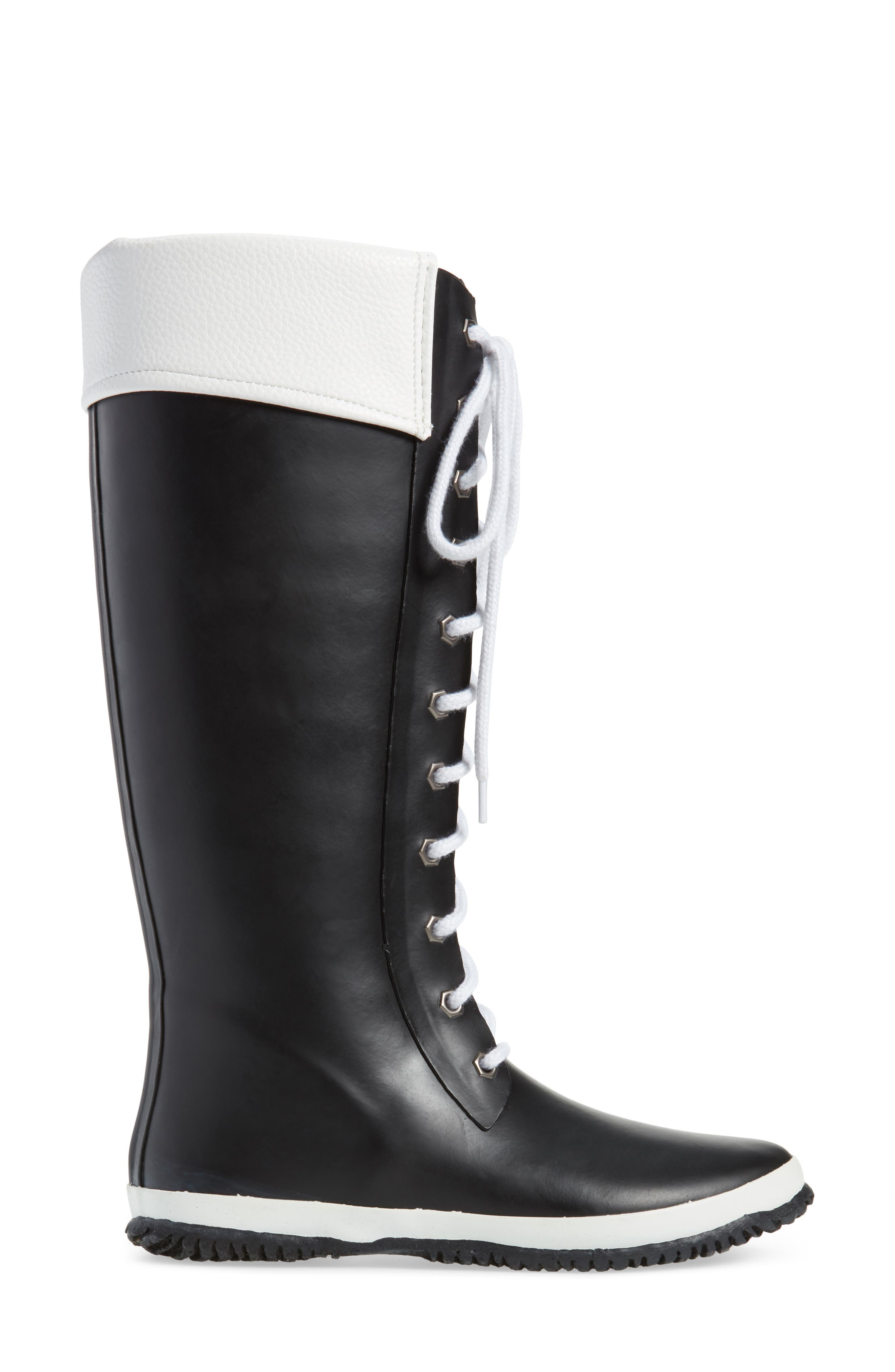 Lace-Up Waterproof Rain Boot,                             Alternate thumbnail 3, color,                             BLACK