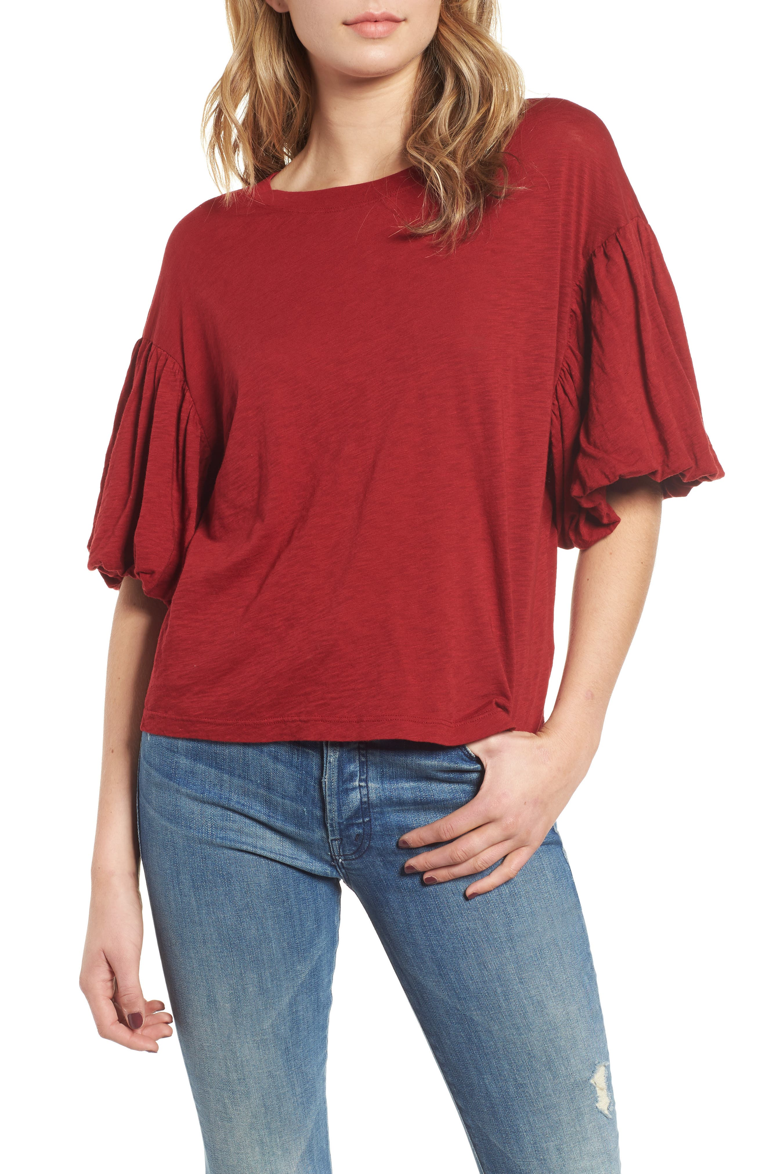 Ruffle Sleeve Slub Tee,                         Main,                         color, DEEP RED