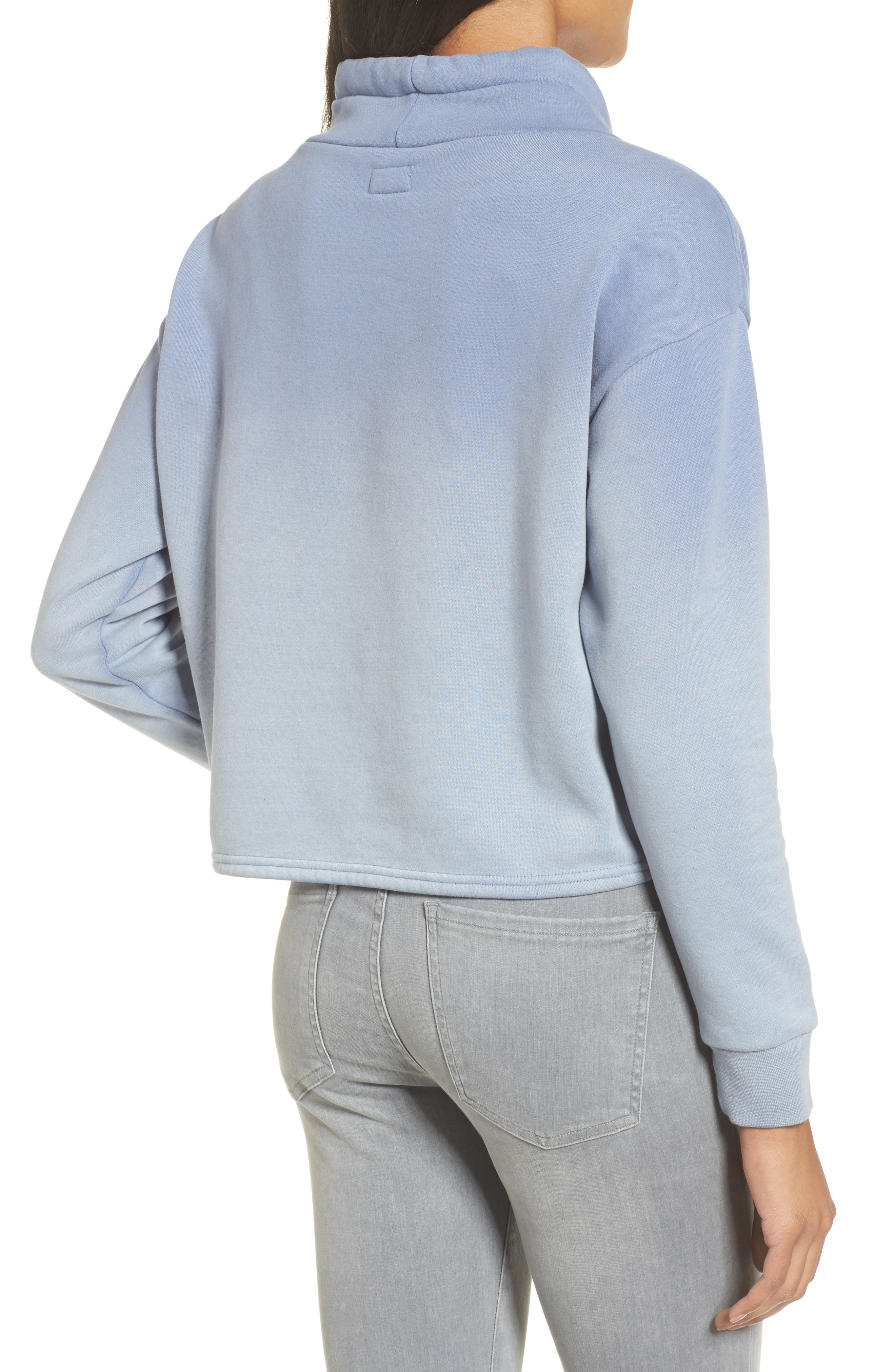 Smudged Crop Funnel Neck Sweatshirt,                             Alternate thumbnail 2, color,                             403