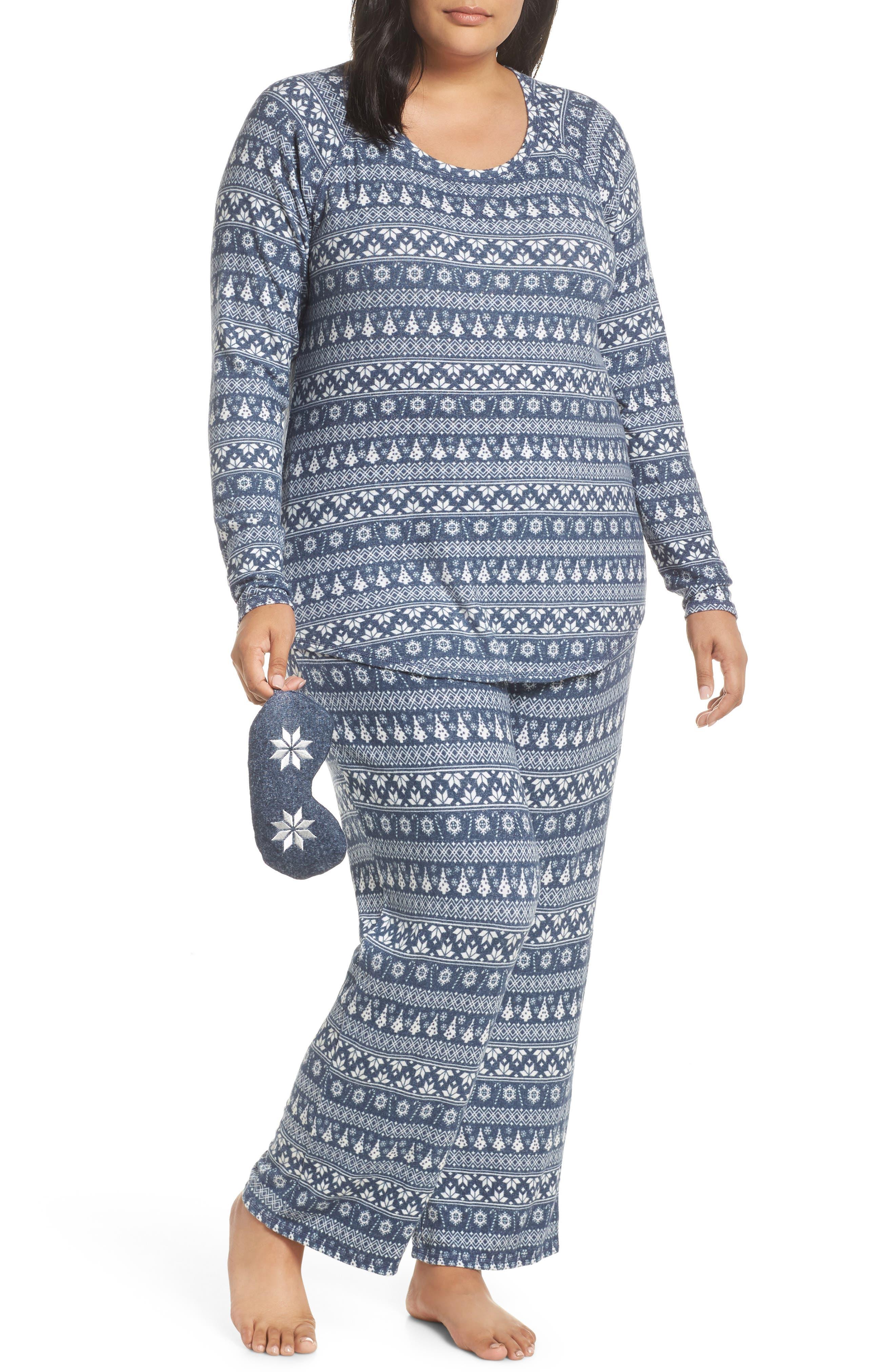 Plus Size Make + Model Knit Pajamas & Sleep Mask, Blue