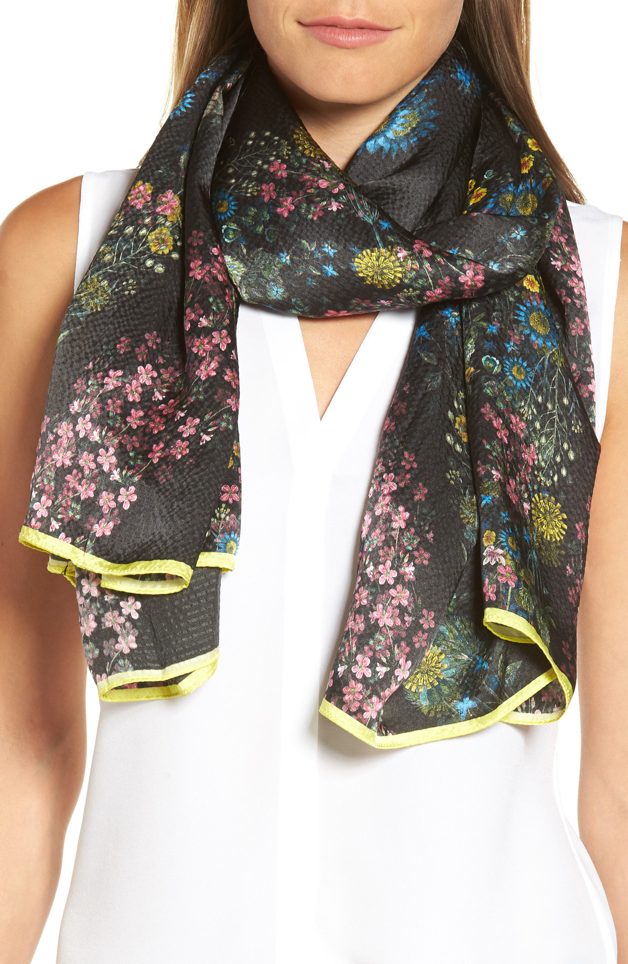 Unity Floral Silk Cape Scarf,                             Alternate thumbnail 4, color,                             001