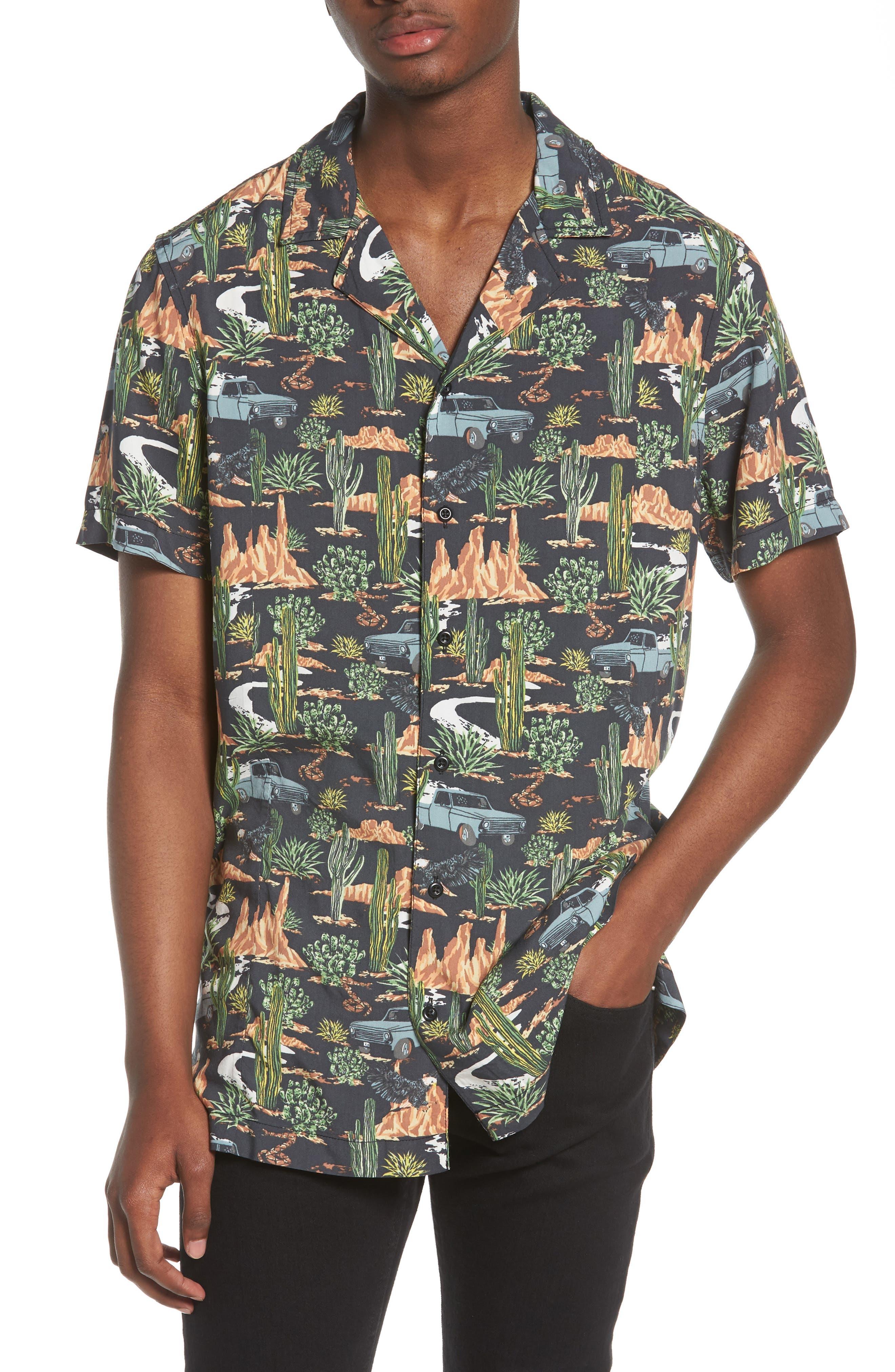 Print Camp Shirt,                         Main,                         color, GREY ON THE ROAD PRINT