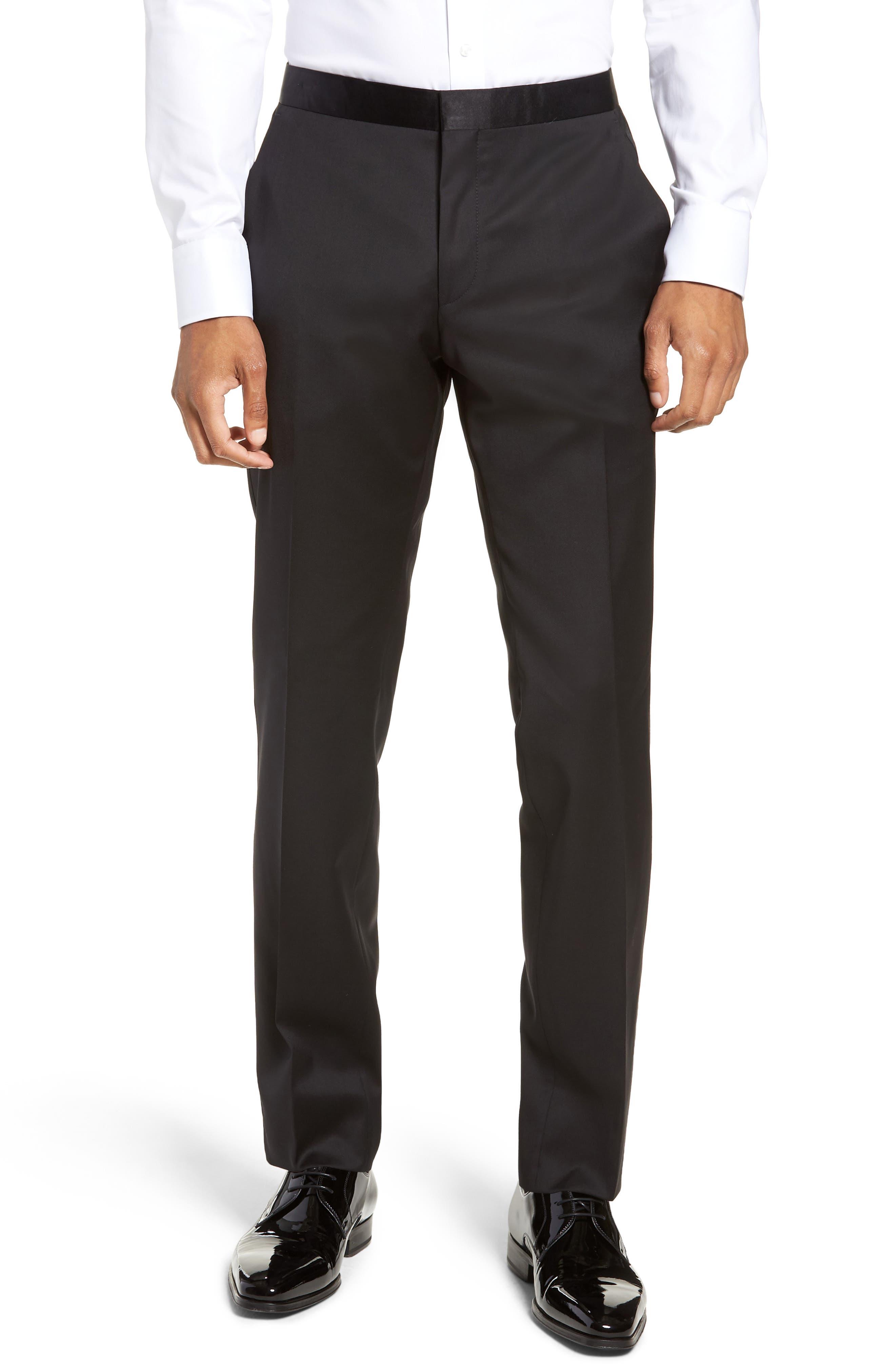 Halven/Gentry Trim Fit Wool Tuxedo,                             Alternate thumbnail 6, color,                             BLACK