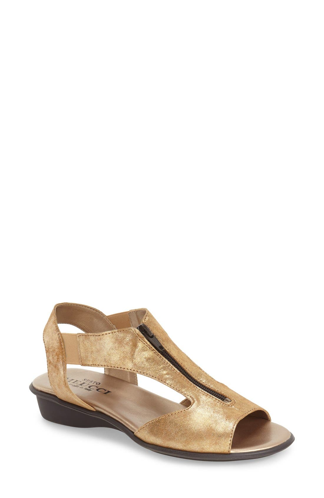 'Euclid' Sandal,                         Main,                         color, BROWN LEATHER