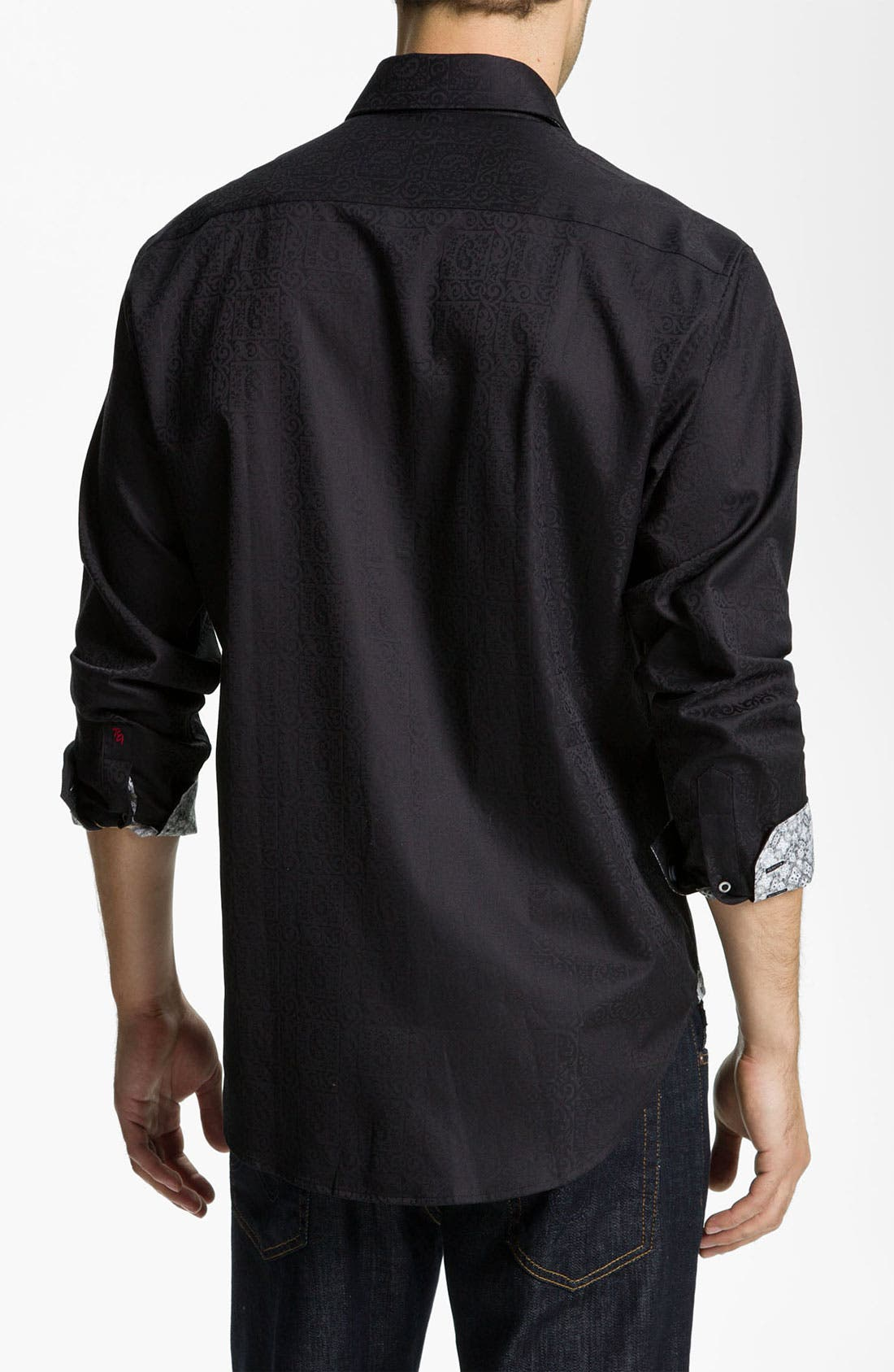 LONG SLEEVE WOVEN WINDSOR SPORTSHIRT,                             Alternate thumbnail 3, color,                             001
