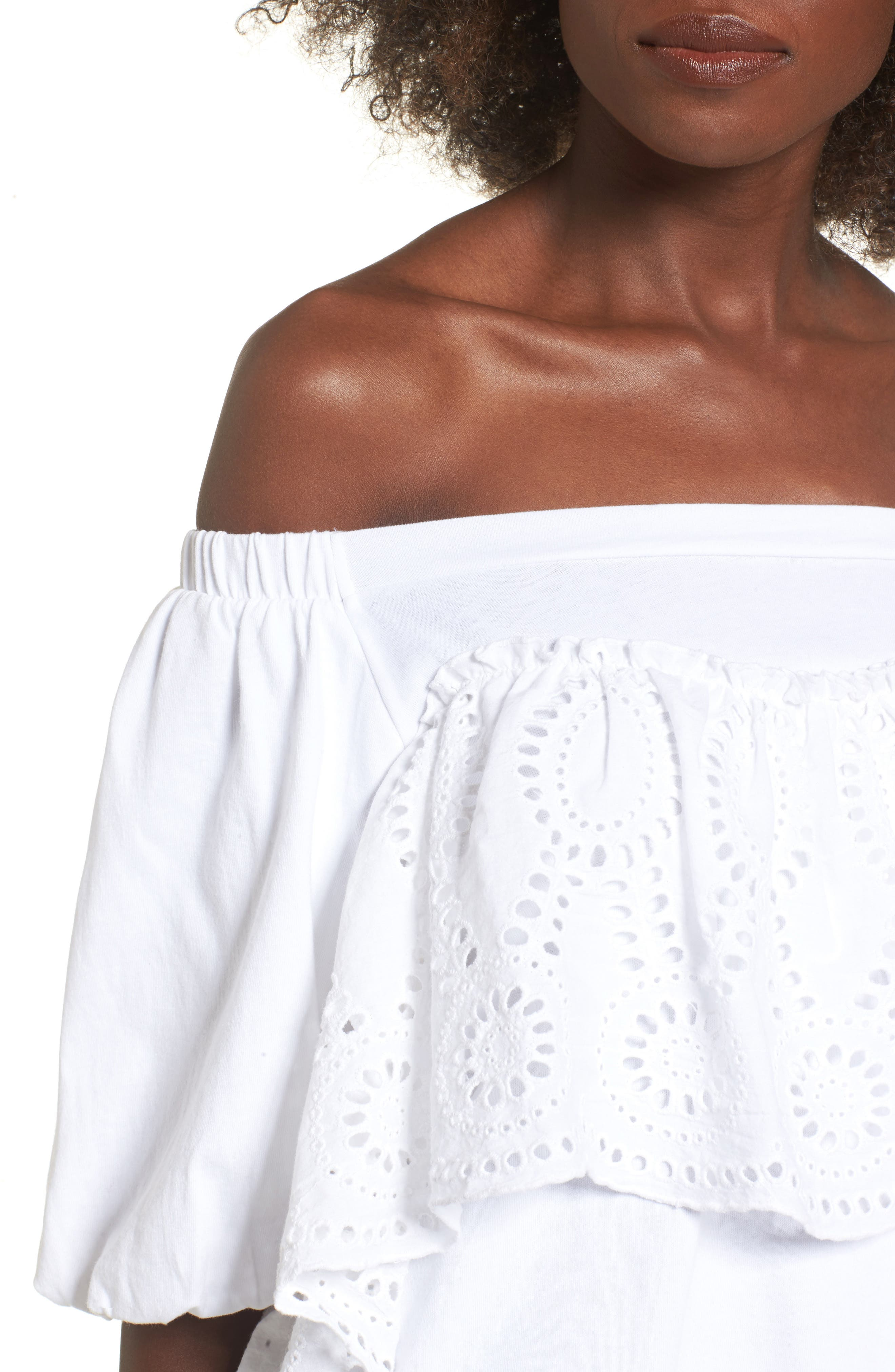 Eyelet Ruffle Off the Shoulder Top,                             Alternate thumbnail 4, color,                             100