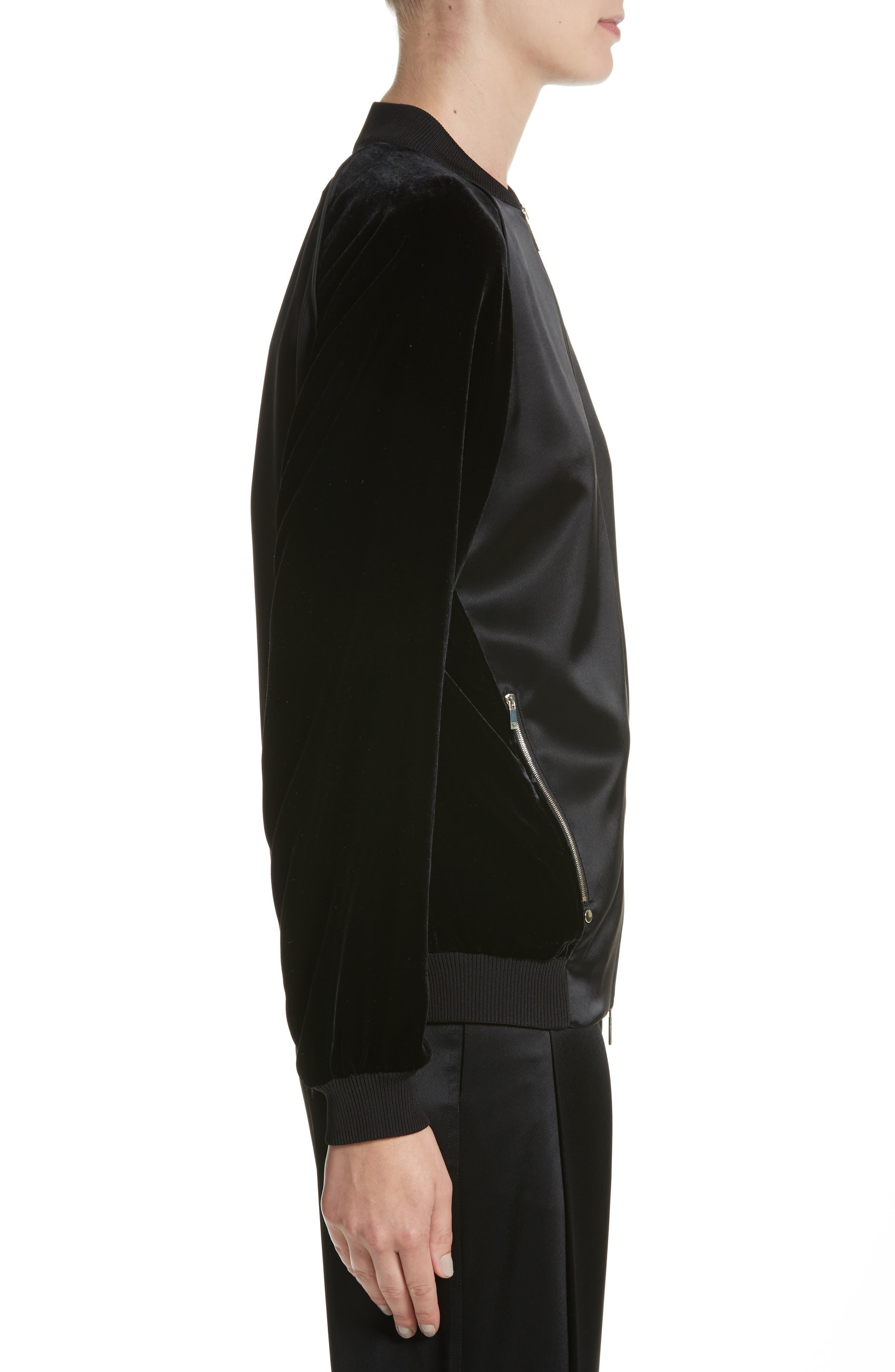 Brea Reverie Satin Cloth Bomber Jacket,                             Alternate thumbnail 3, color,                             001