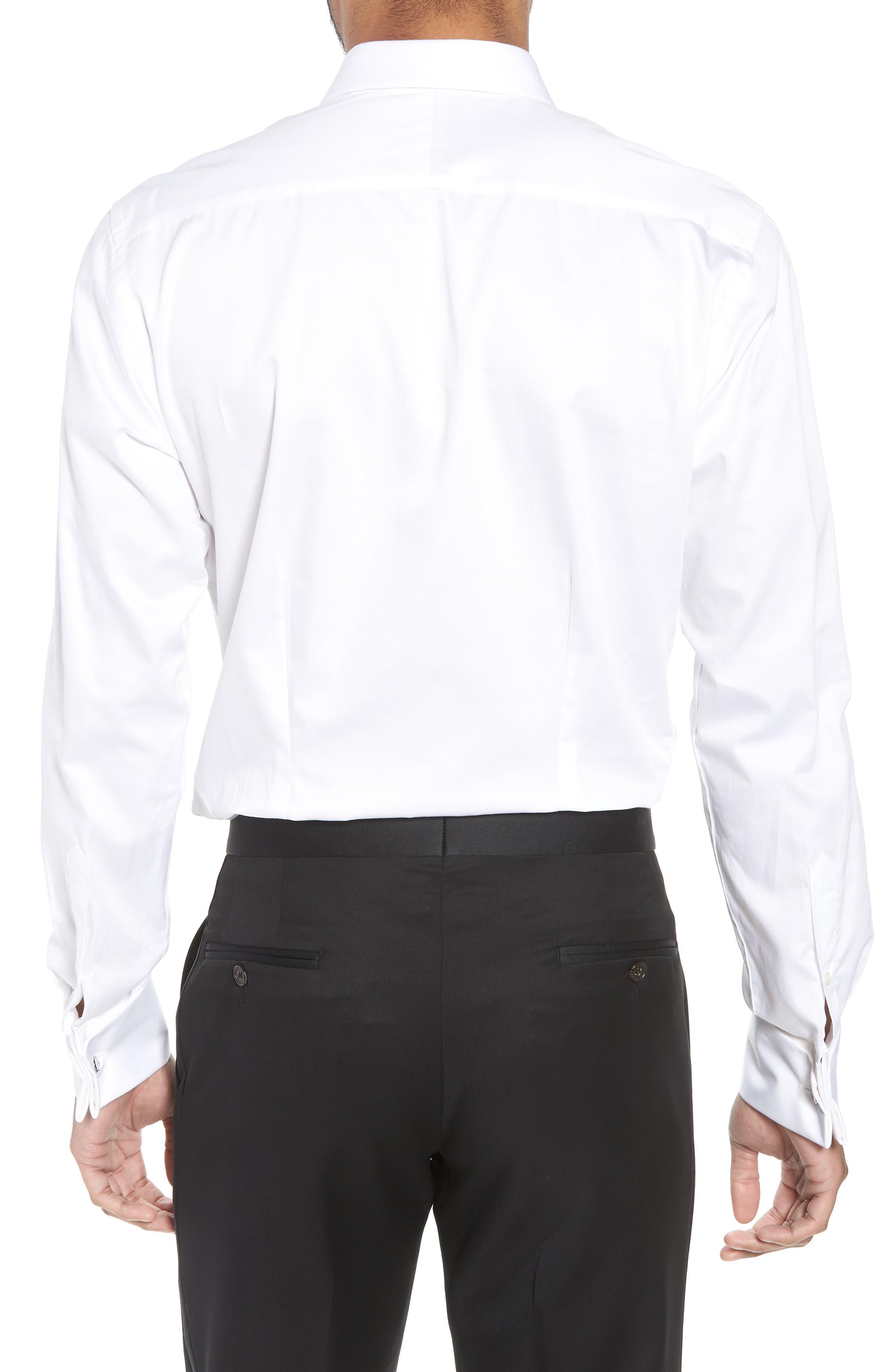 Fedra Trim Fit Tuxedo Shirt,                             Alternate thumbnail 3, color,                             WHITE
