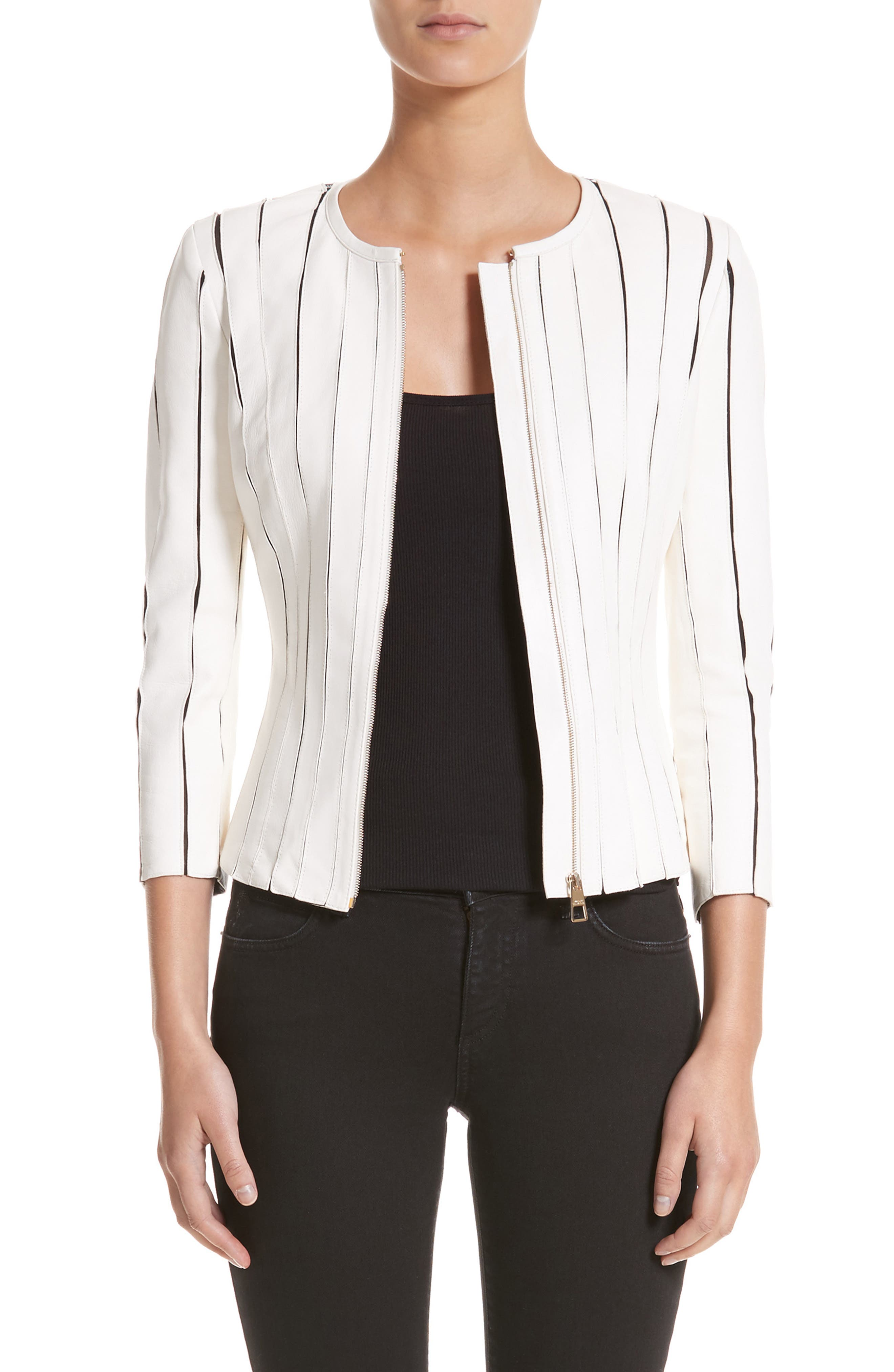 Leather Panel Jacket,                             Main thumbnail 1, color,                             WHITE