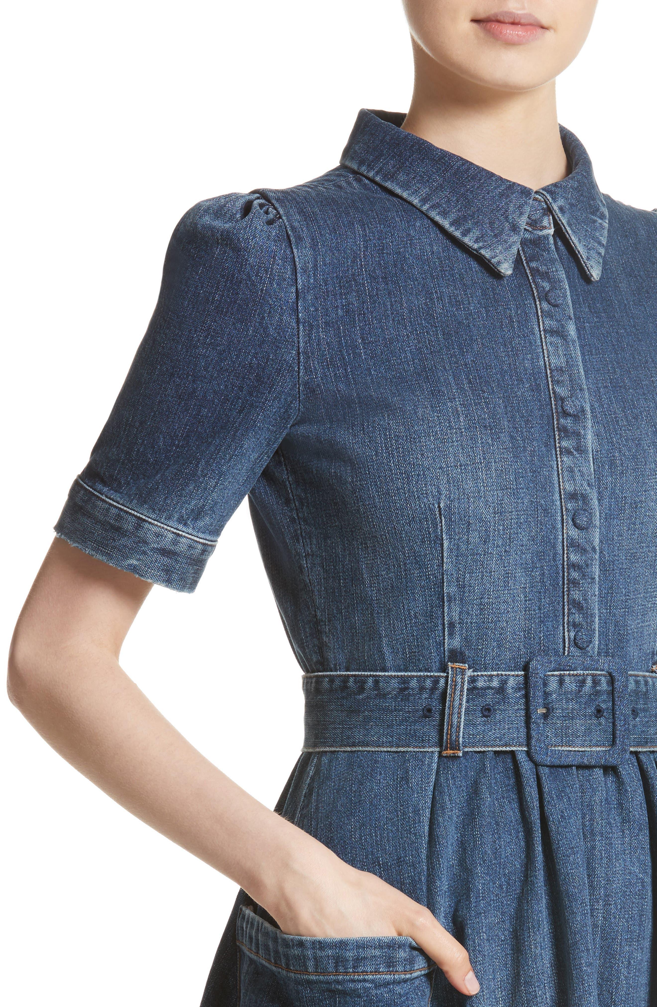 Denim Fit & Flare Midi Dress,                             Alternate thumbnail 4, color,                             INDIGO