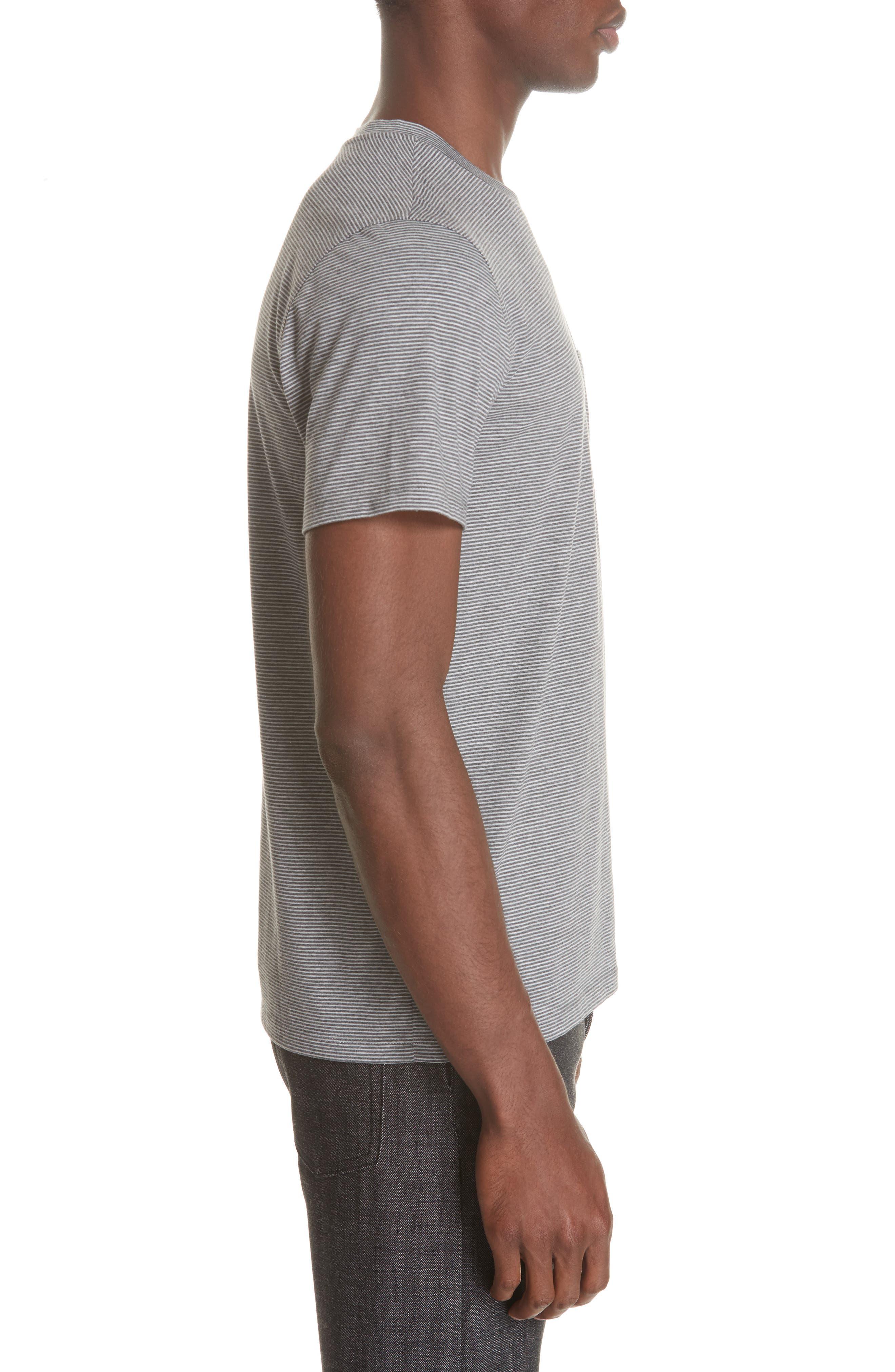 Keanu Striped Pocket T-Shirt,                             Alternate thumbnail 3, color,                             PLA GRIS