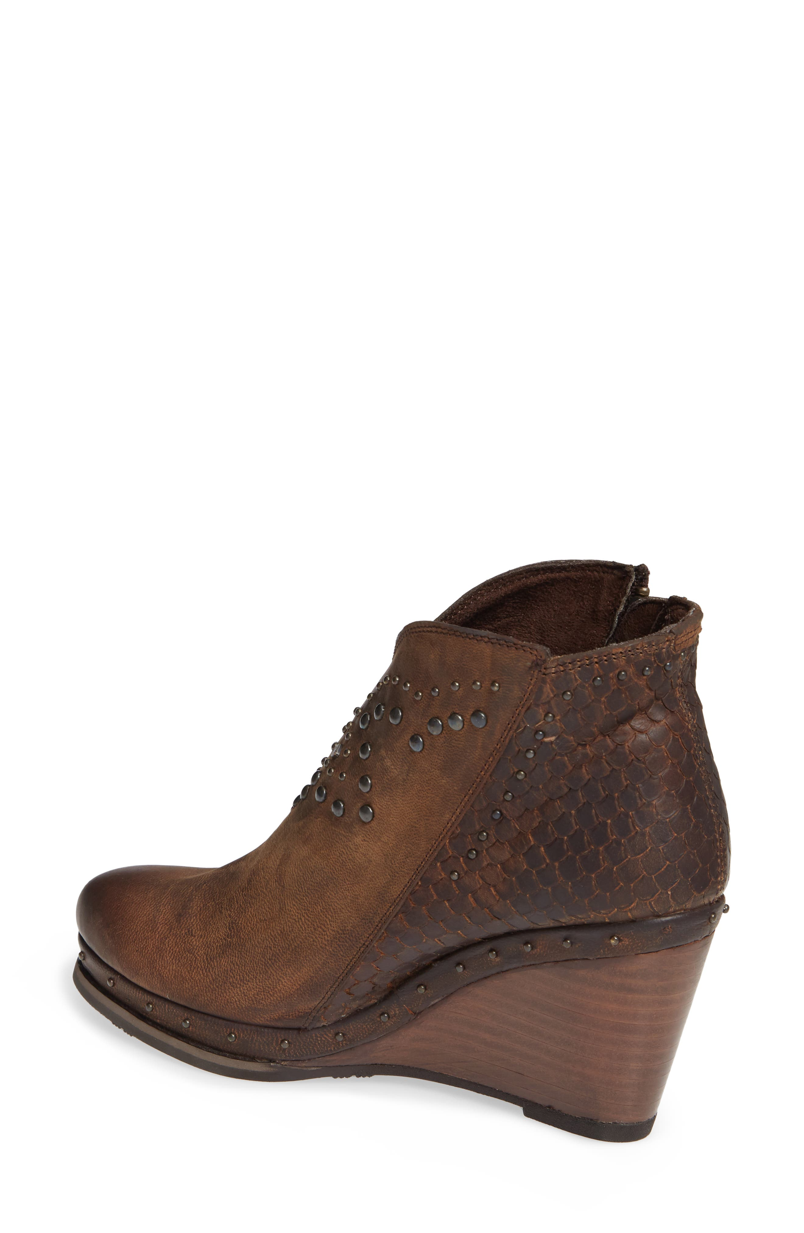 Stax Studded Wedge Bootie,                             Alternate thumbnail 2, color,                             RUSSET DIAMONDBACK TAN LEATHER