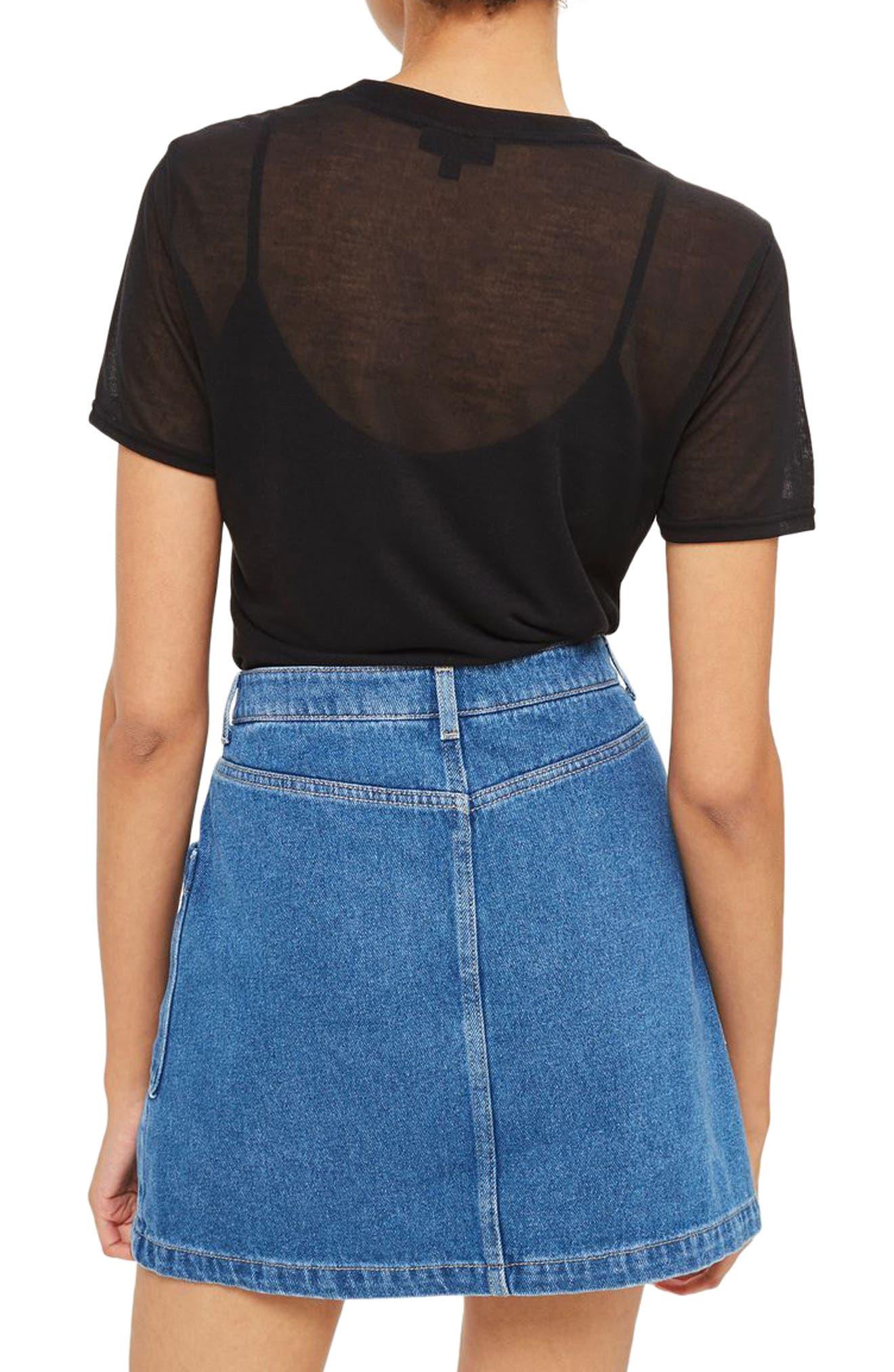Sheer T-Shirt Bodysuit,                             Alternate thumbnail 2, color,                             001