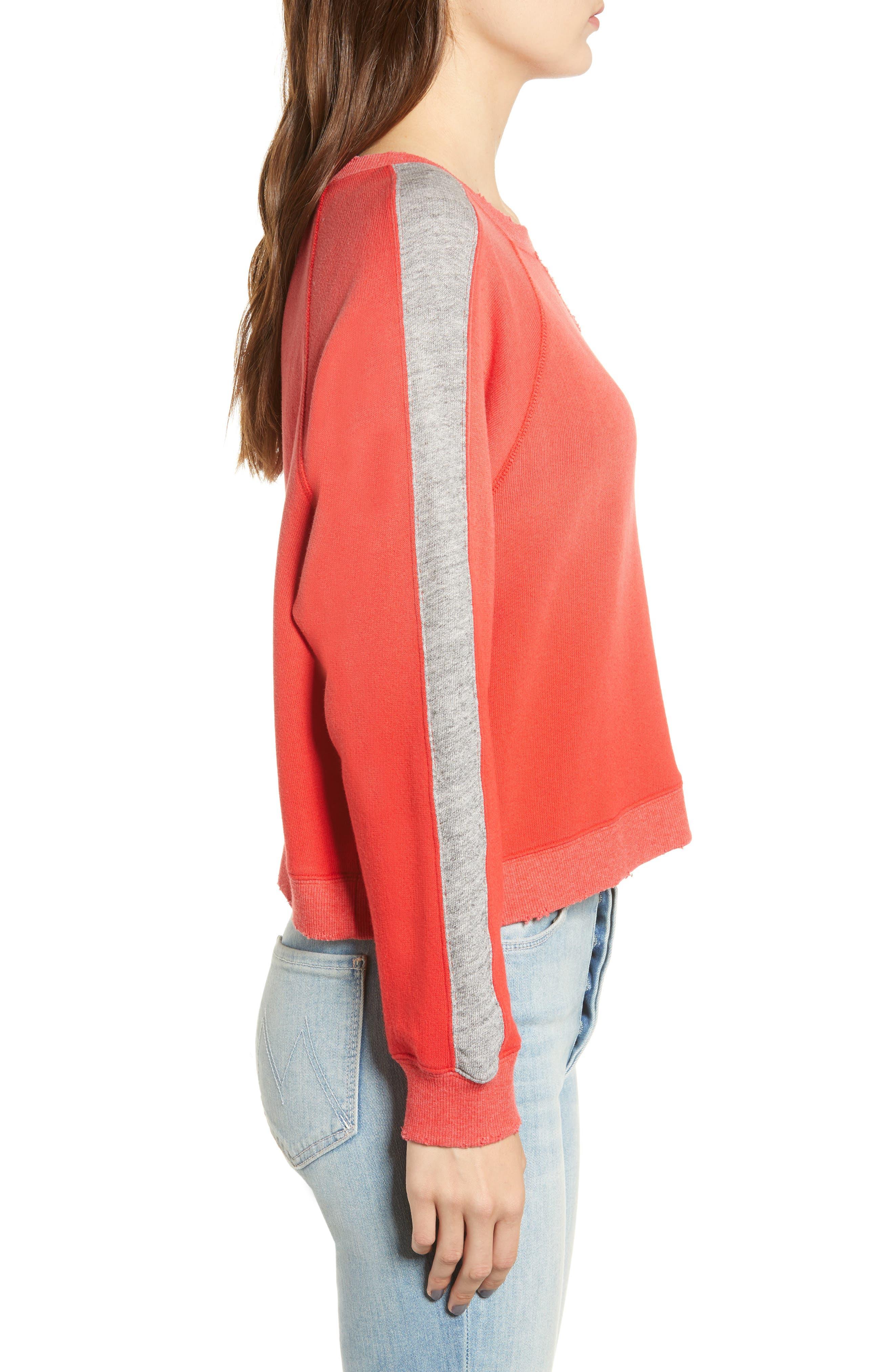 Varsity Stripe Sweatshirt,                             Alternate thumbnail 3, color,                             ROUGE