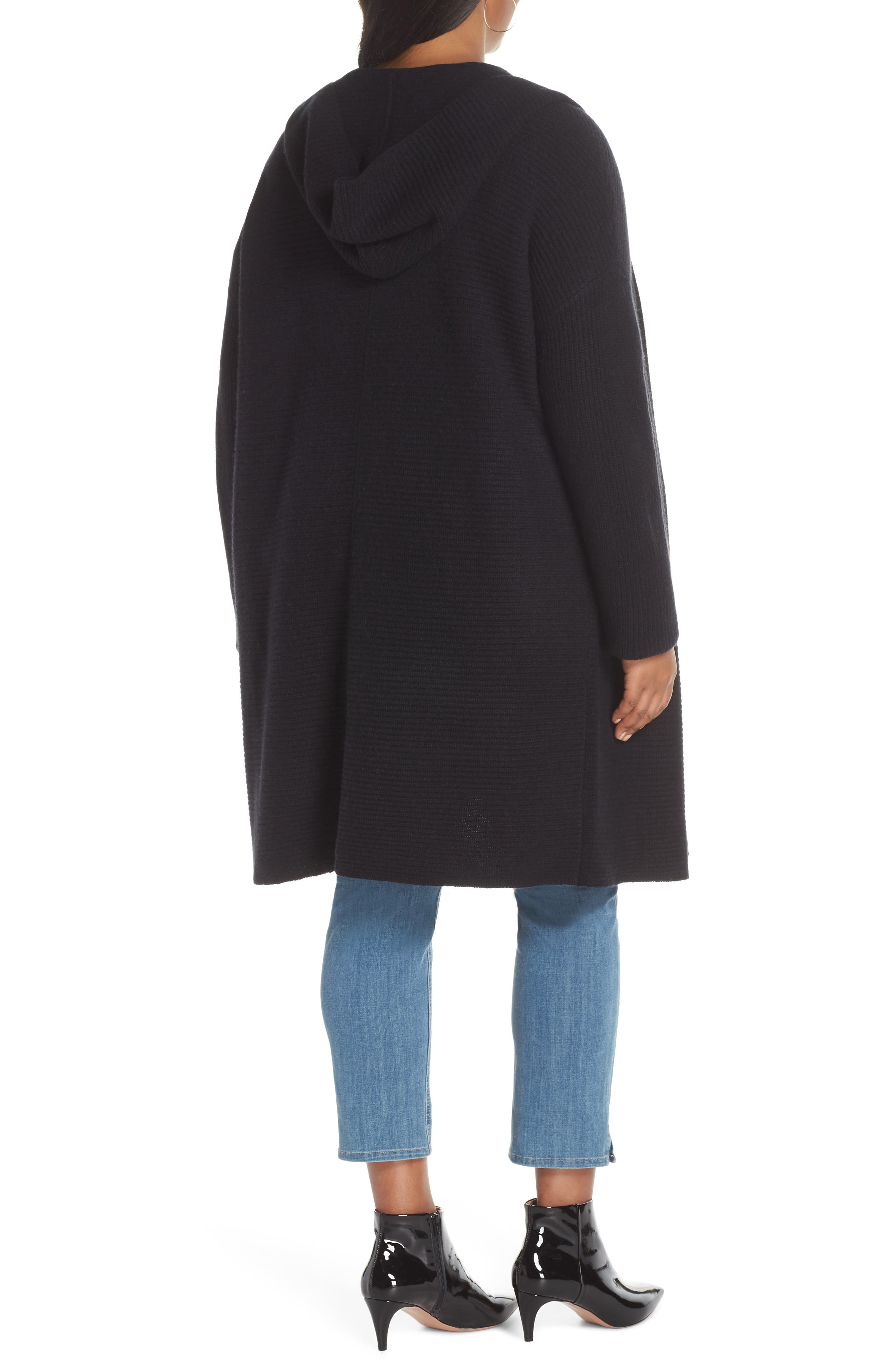 Hooded Wool & Cashmere Cardigan,                             Alternate thumbnail 2, color,                             BLACK
